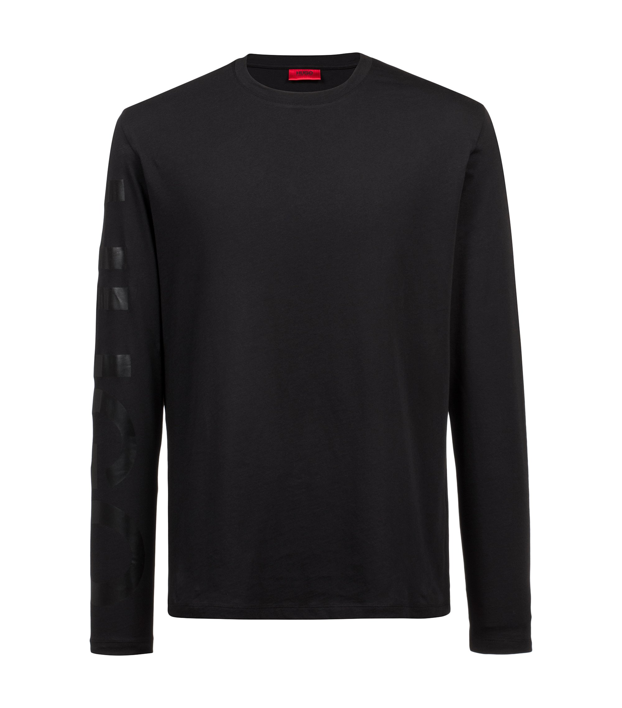 Oversized-fit T-shirt in cotton with large sleeve logo, Black