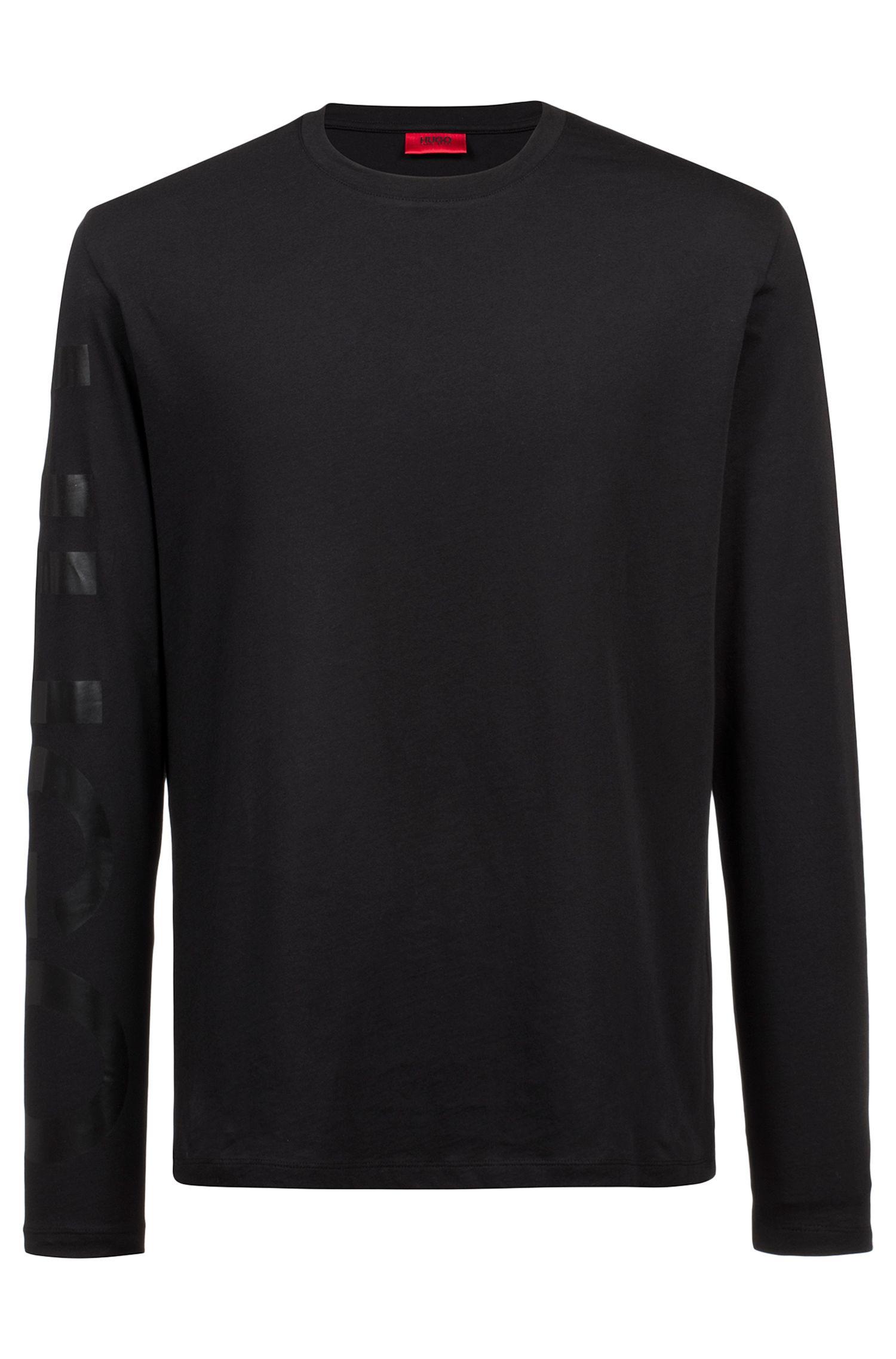 T-shirt oversize in cotone con grande logo sulla manica, Nero