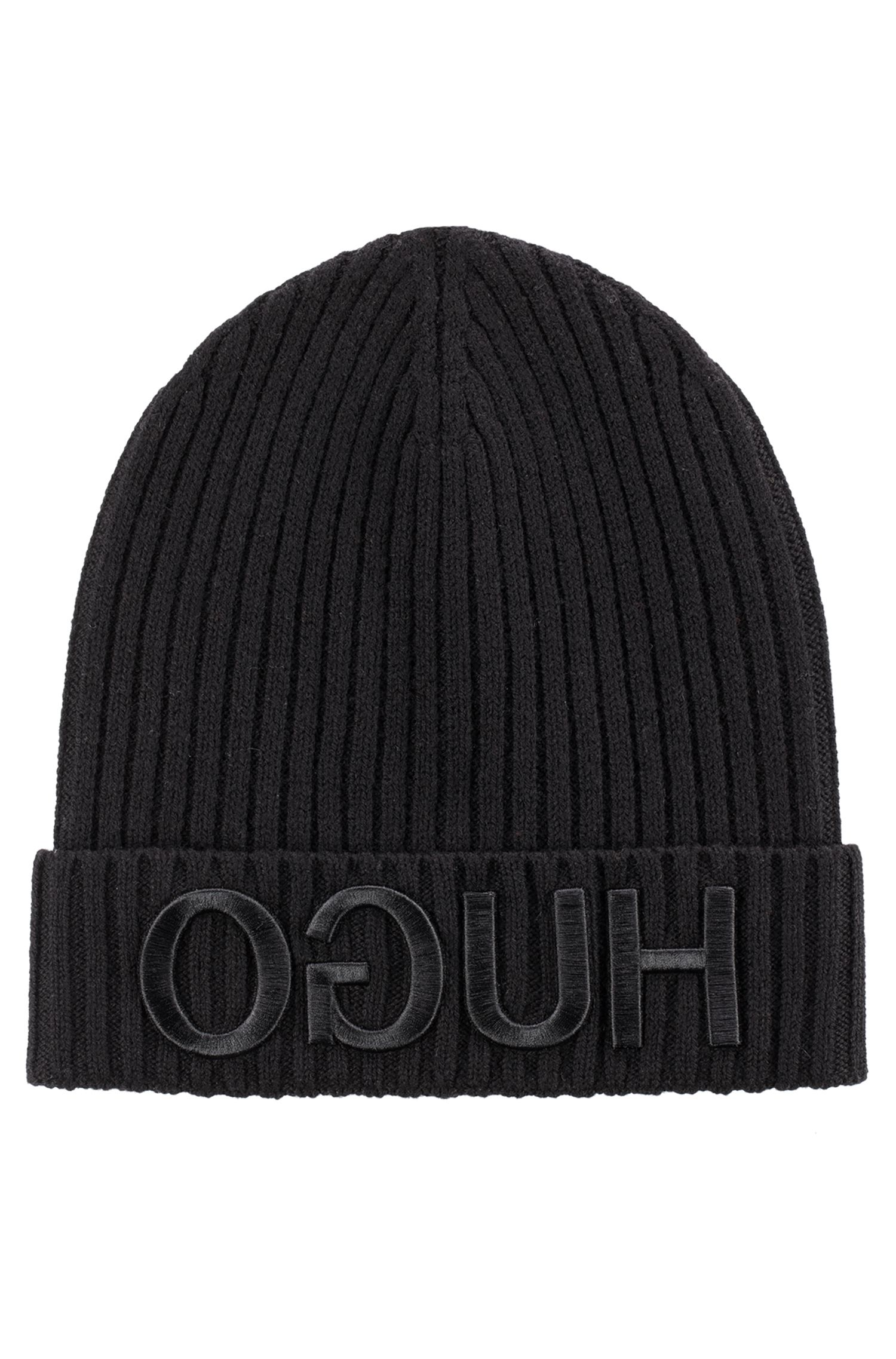 Unisex beanie hat in wool with reverse logo, Black