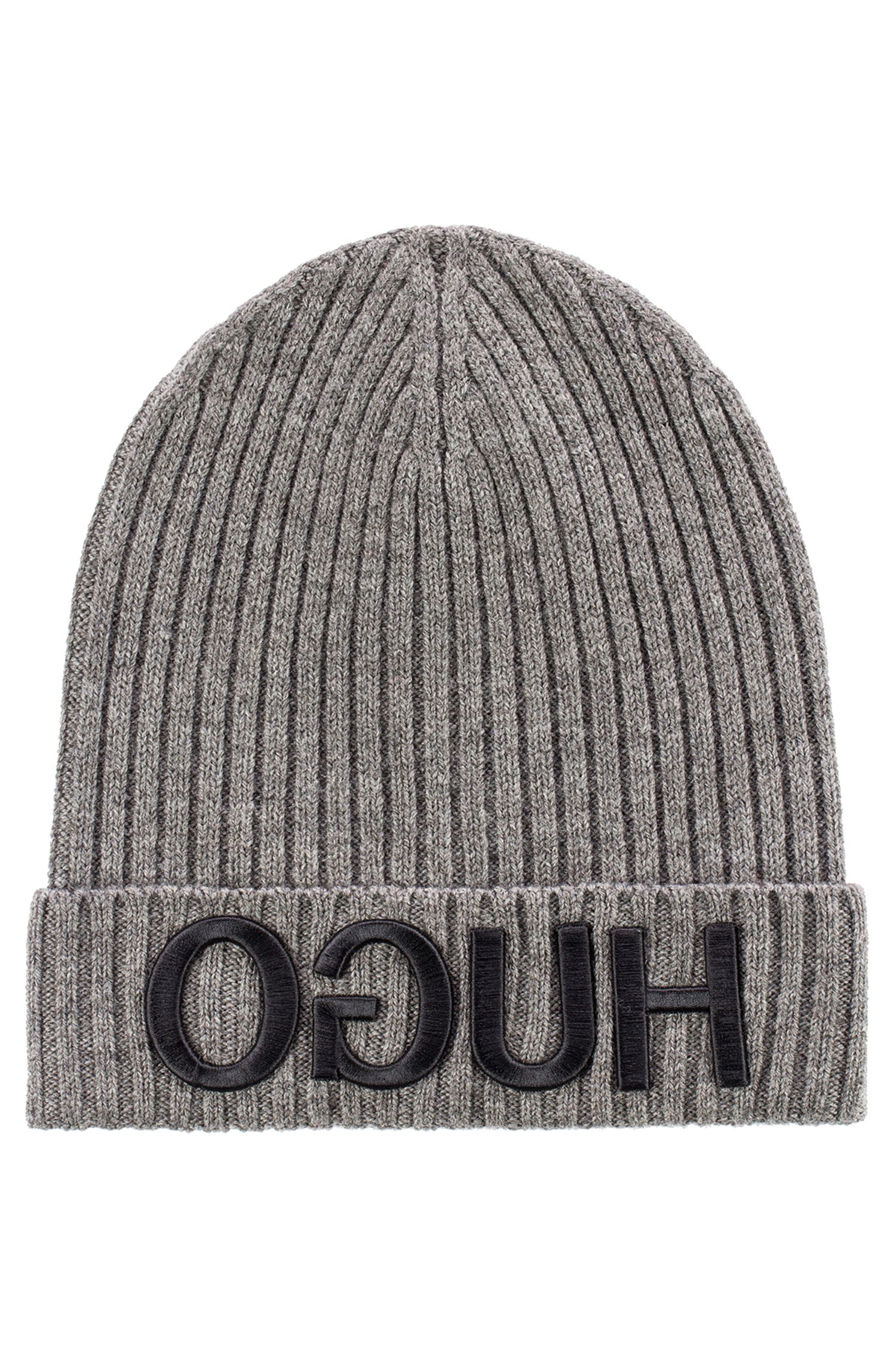 Unisex beanie hat in wool with reverse logo, Grey