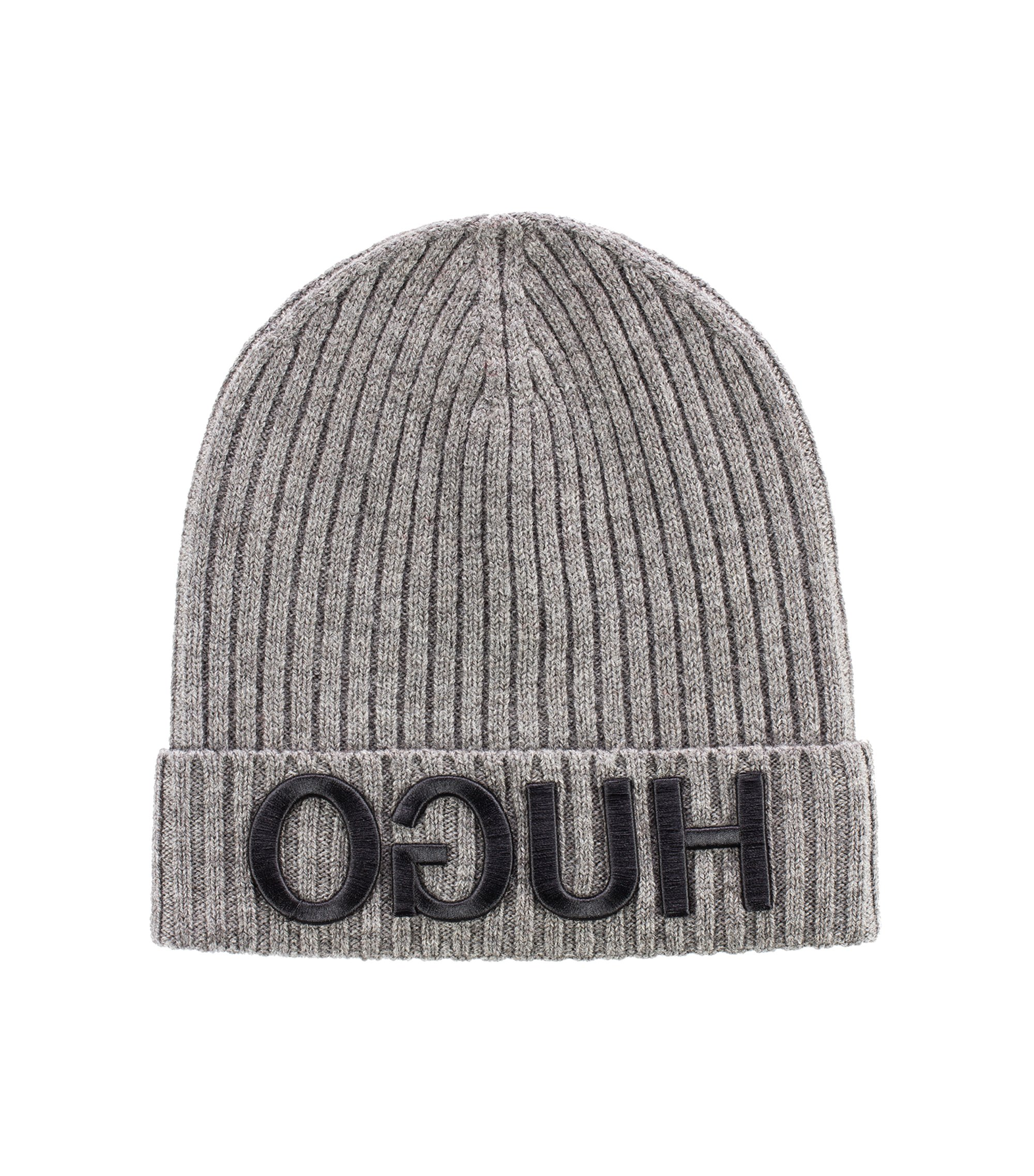 Wool beanie hat with 3D reverse-logo embroidery, Grey