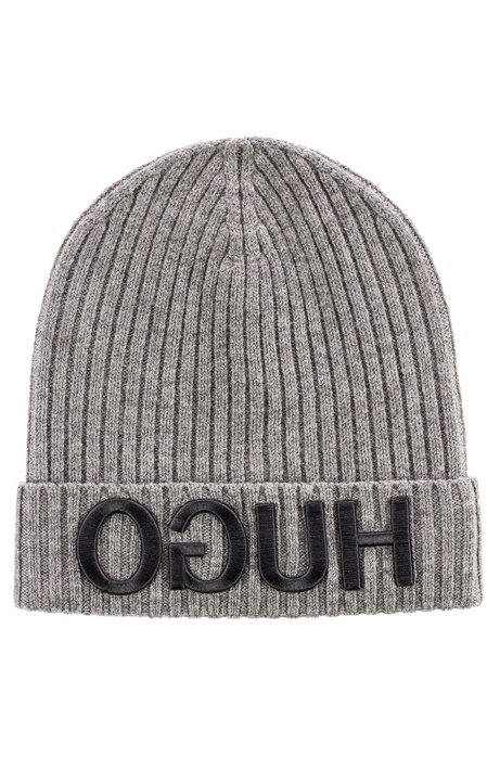 7c6f9d72442 Wool beanie hat with 3D reverse-logo embroidery