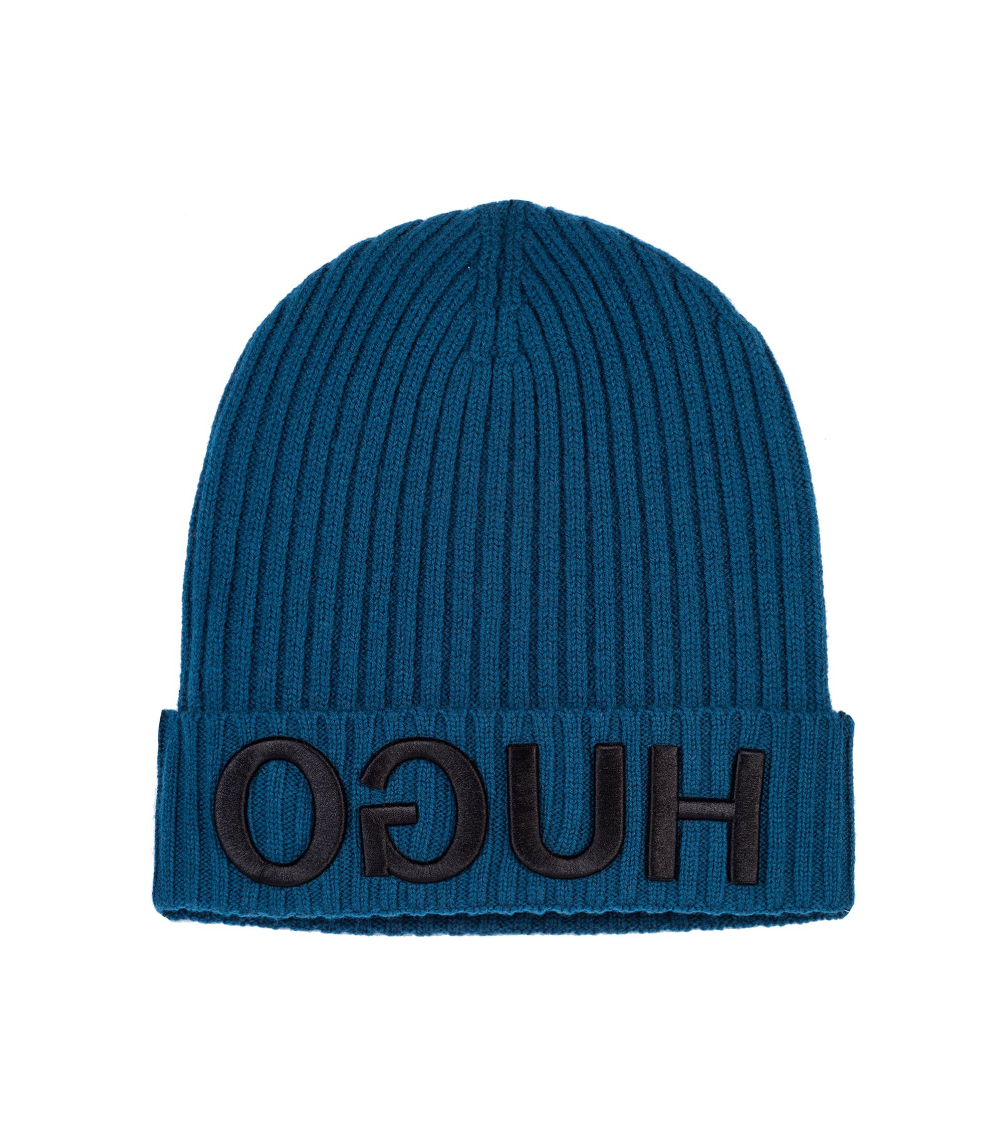 Wool beanie hat with 3D reverse-logo embroidery, Blue