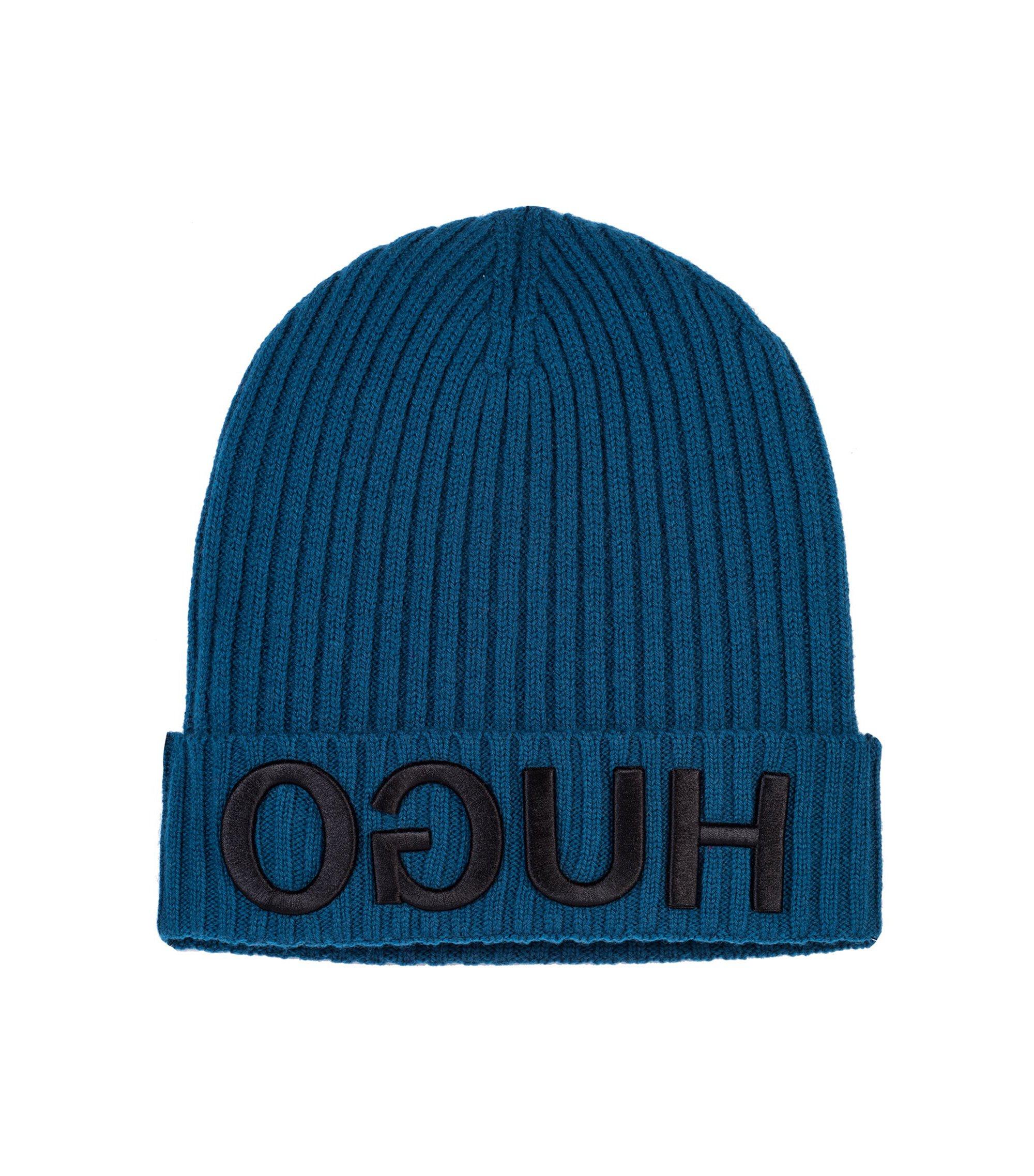 Beanie en laine avec logo inversé en 3D brodé, Bleu