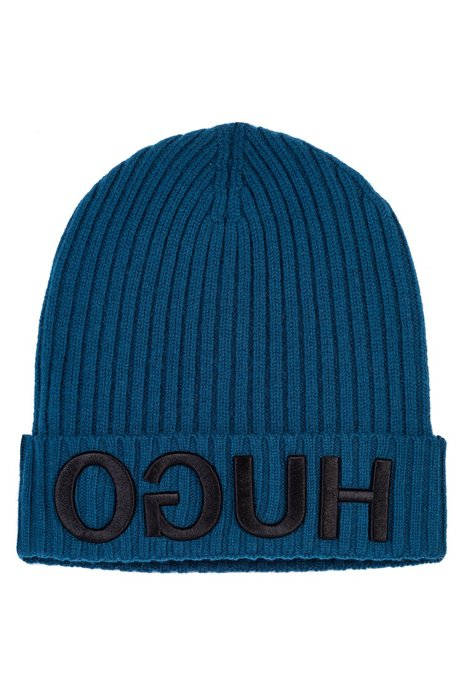 e3f1380e HUGO - Wool beanie hat with 3D reverse-logo embroidery