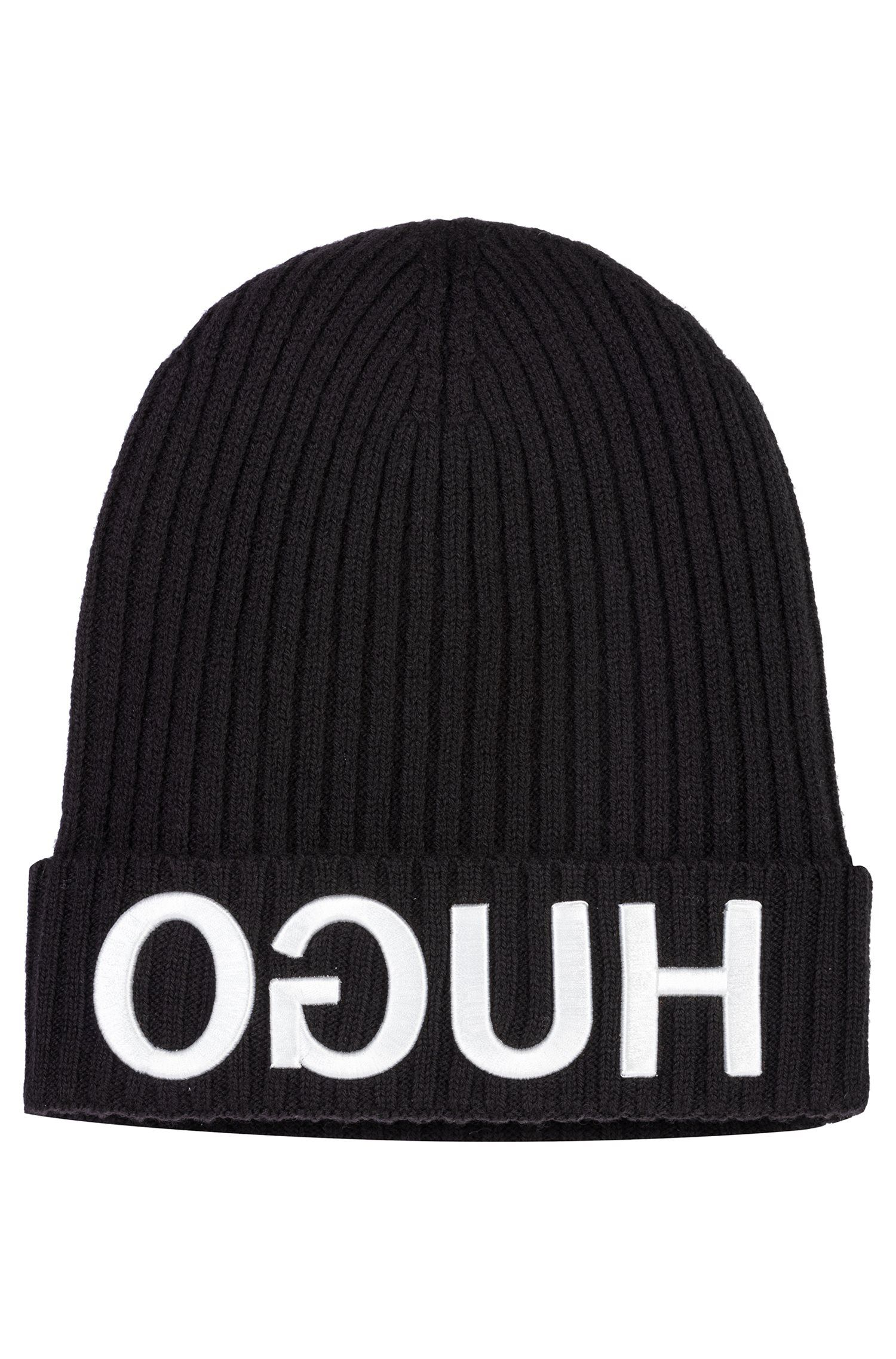 Wool beanie hat with 3D reverse-logo embroidery, Black