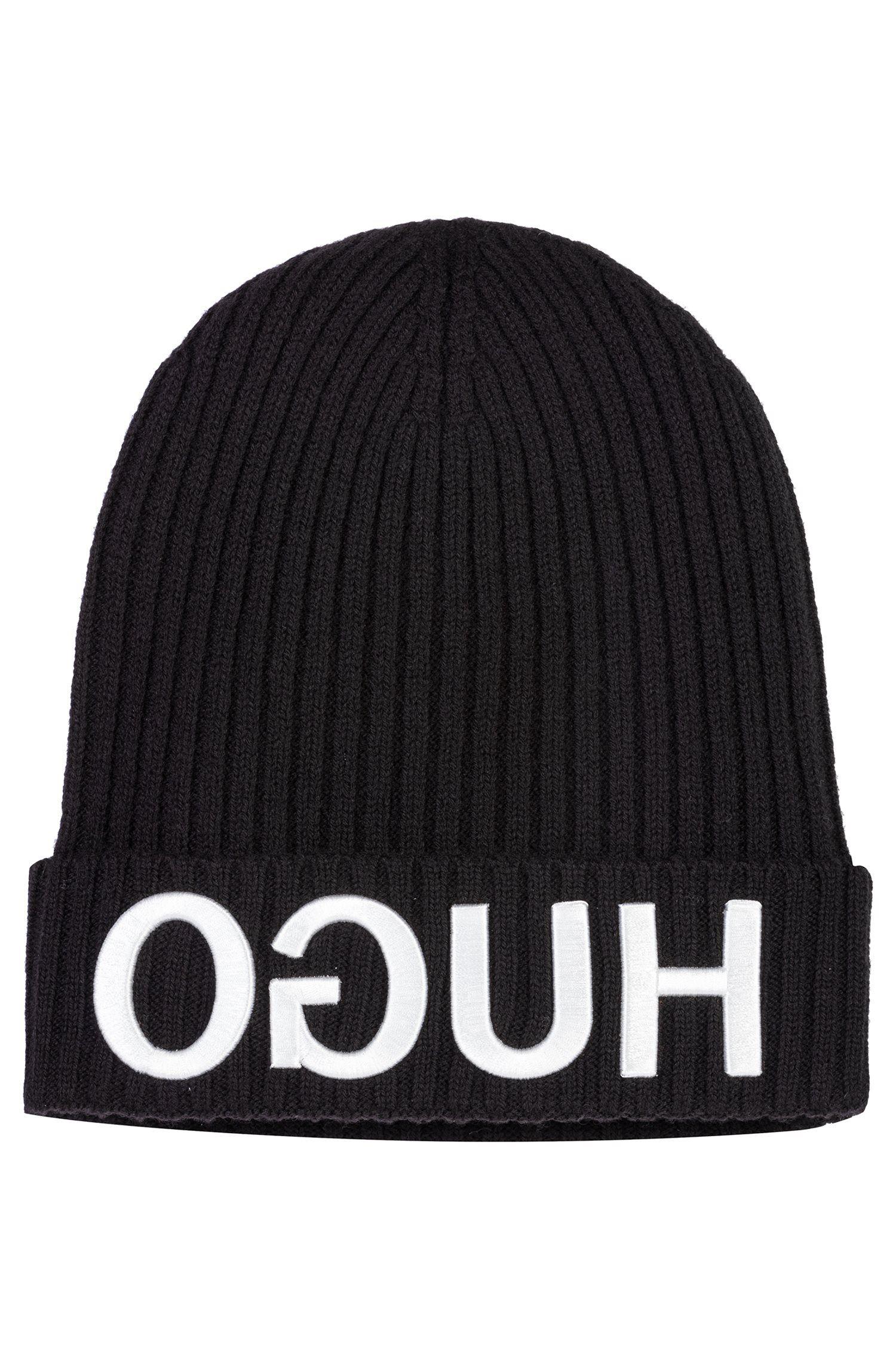 Wollmütze mit Reversed-Logo in 3D-Optik, Schwarz