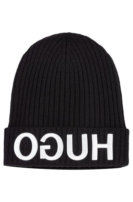 39c3ea68d22 HUGO - Wool beanie hat with 3D reverse-logo embroidery