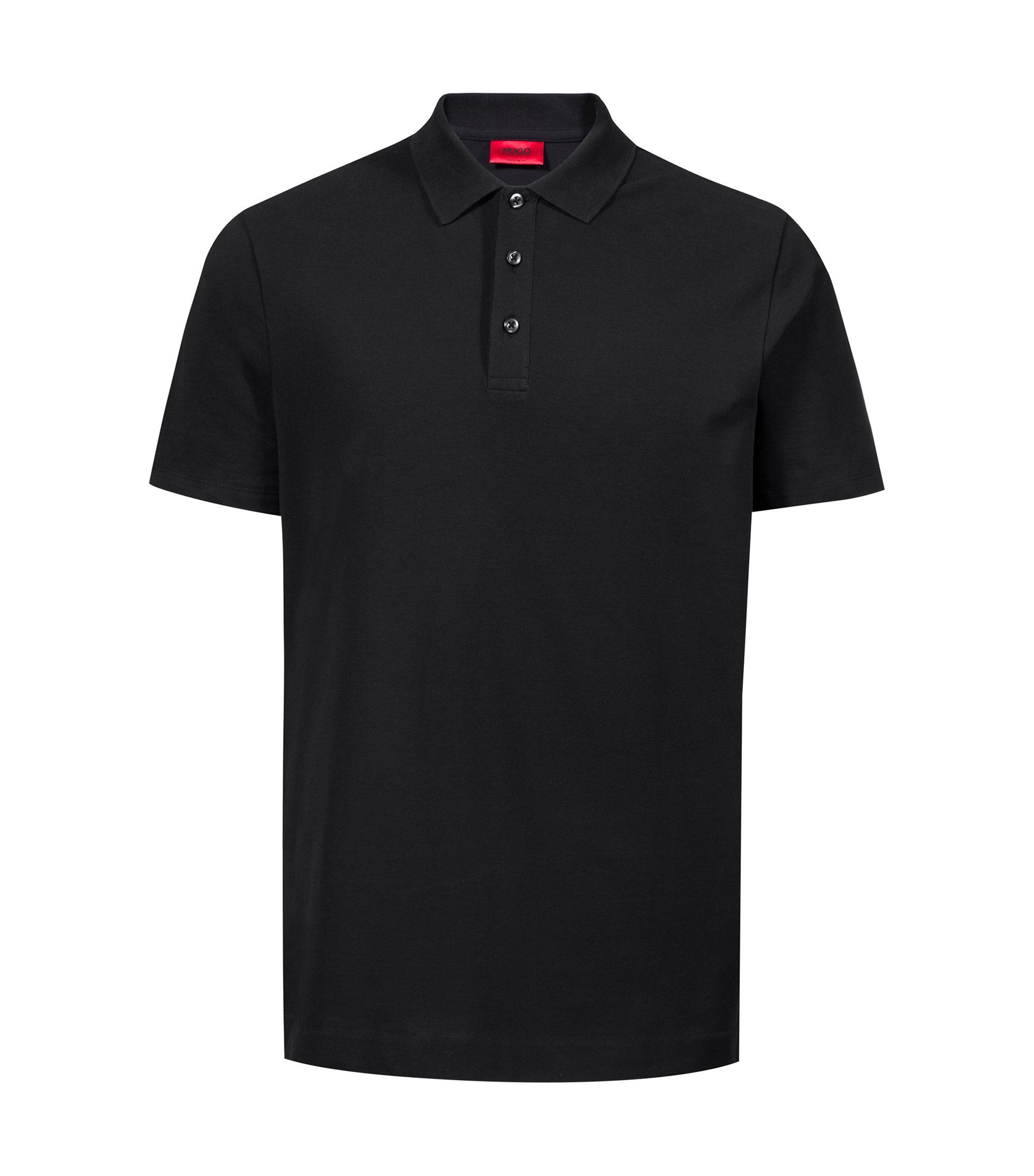 Cotton-piqué polo shirt with large-scale rear logo, Black