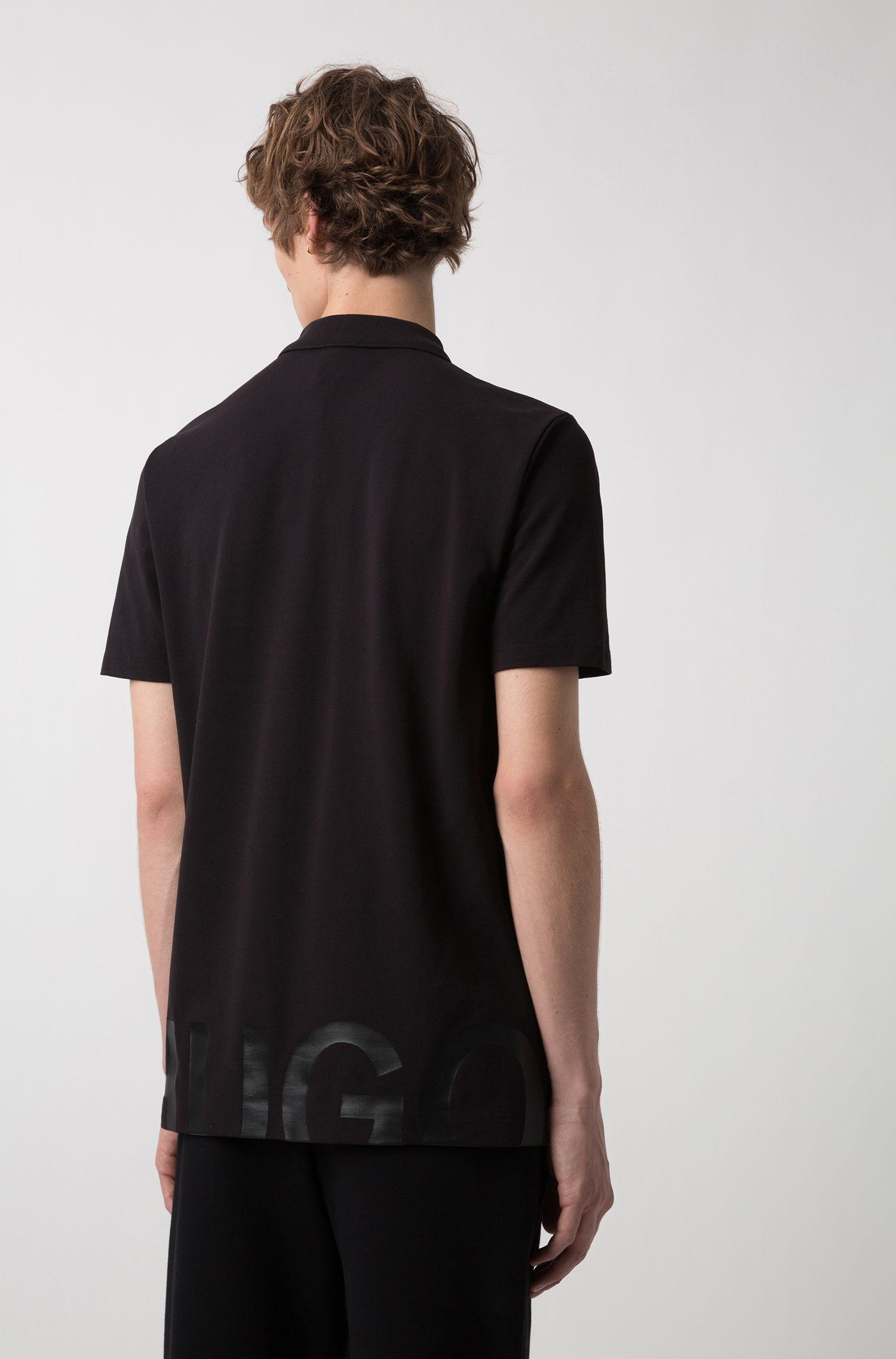 Polo van katoenpiqué met groot logo op de rug, Zwart