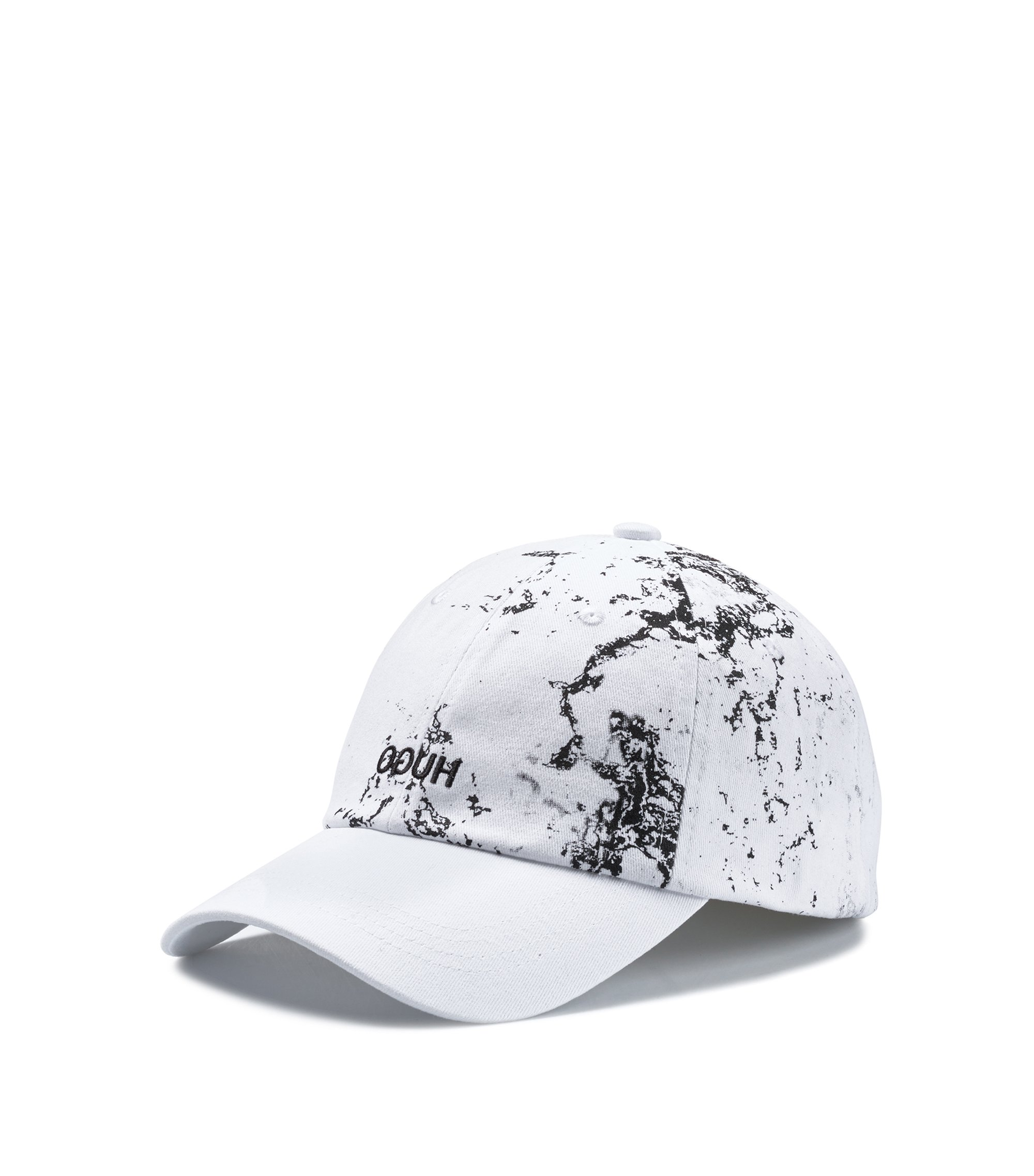 Reverse-logo cap in cotton with camouflage print, Patterned