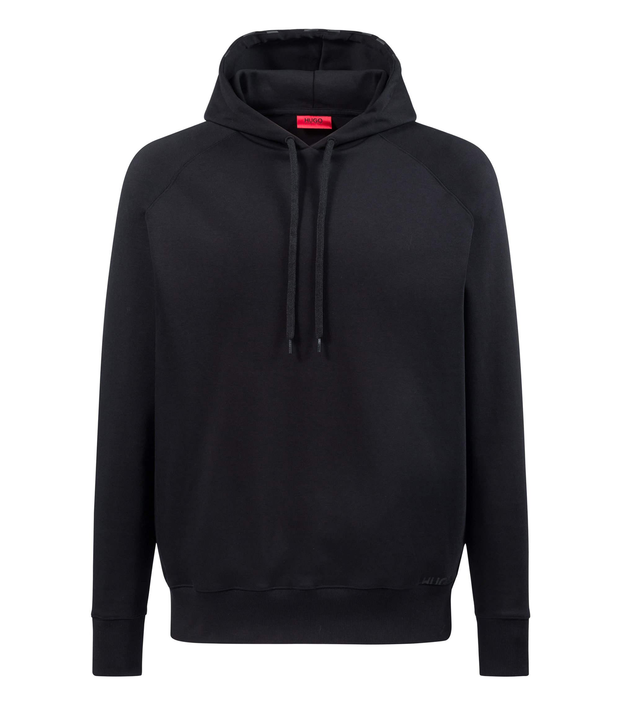 Oversized-fit sweatshirt in interlock cotton with logo hood, Black