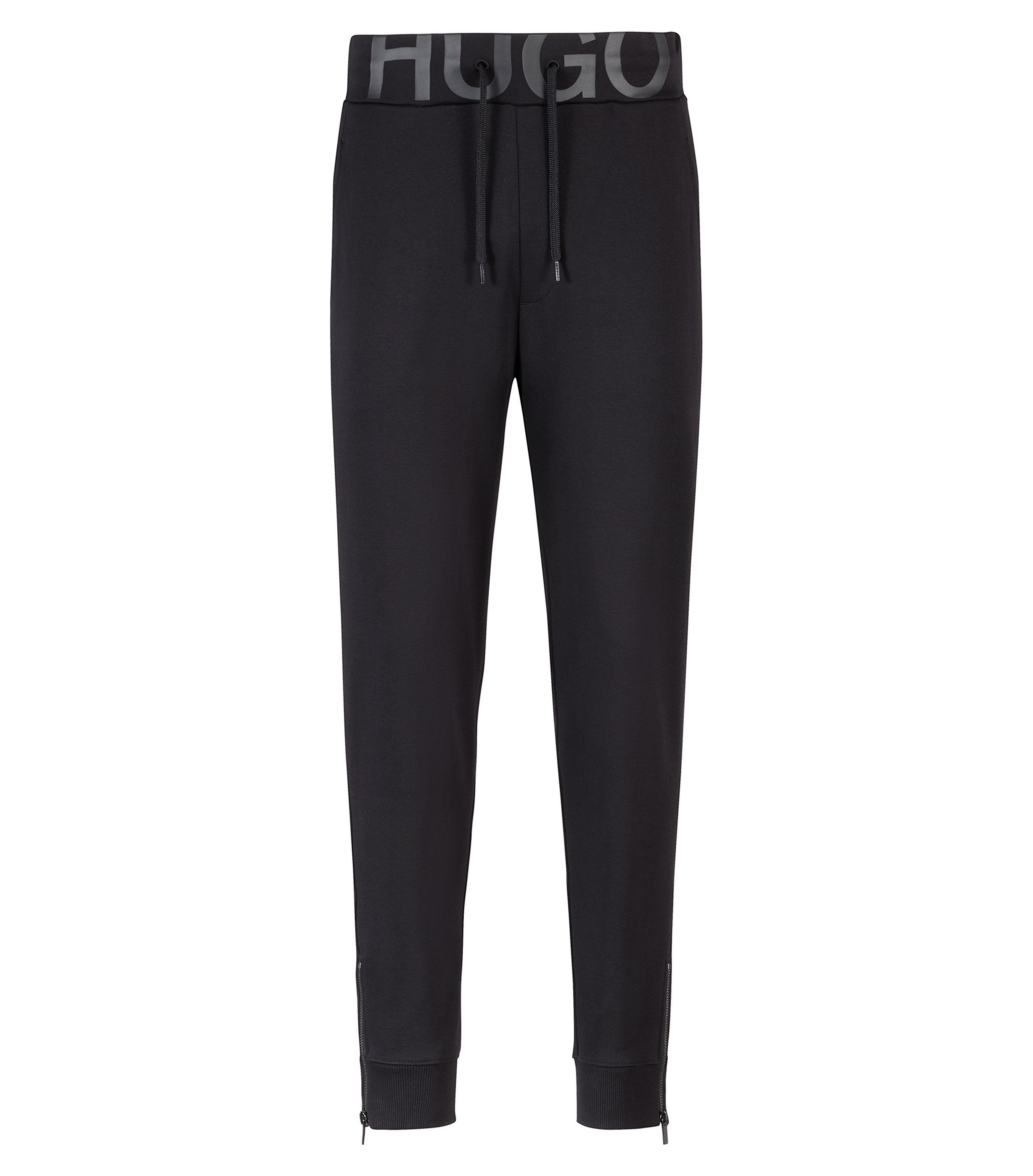 Zip-cuff trousers in cotton jersey with logo waistband, Black