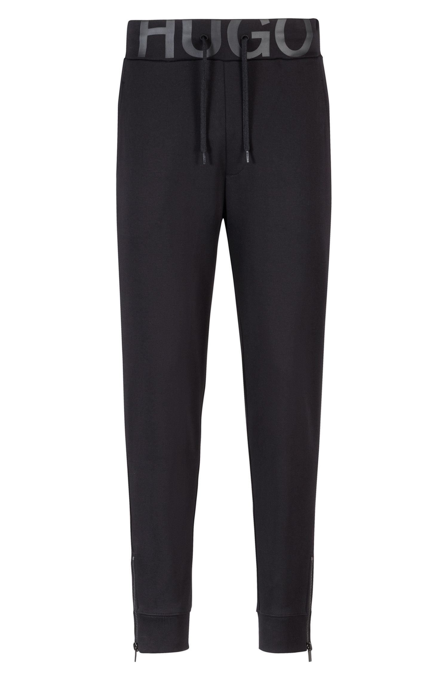 Zip-cuff trousers in cotton jersey with logo waistband
