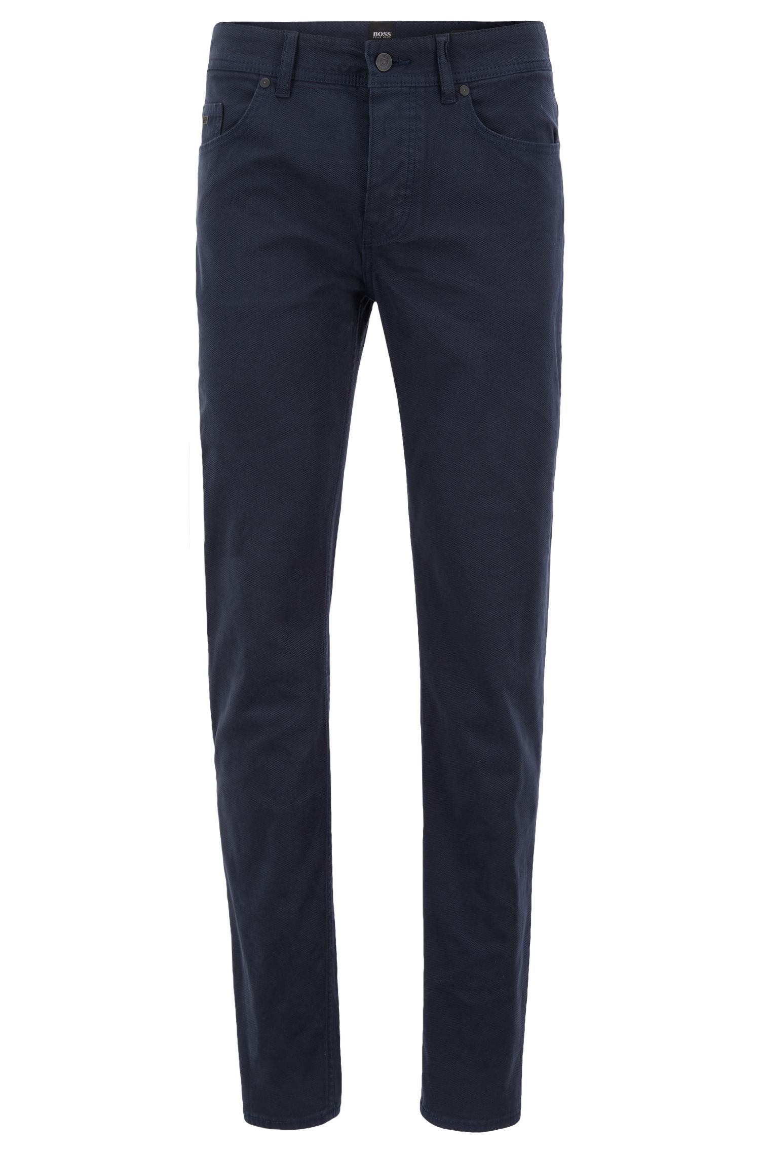 Tapered-fit jeans in micro-structured dobby stretch denim, Dark Blue