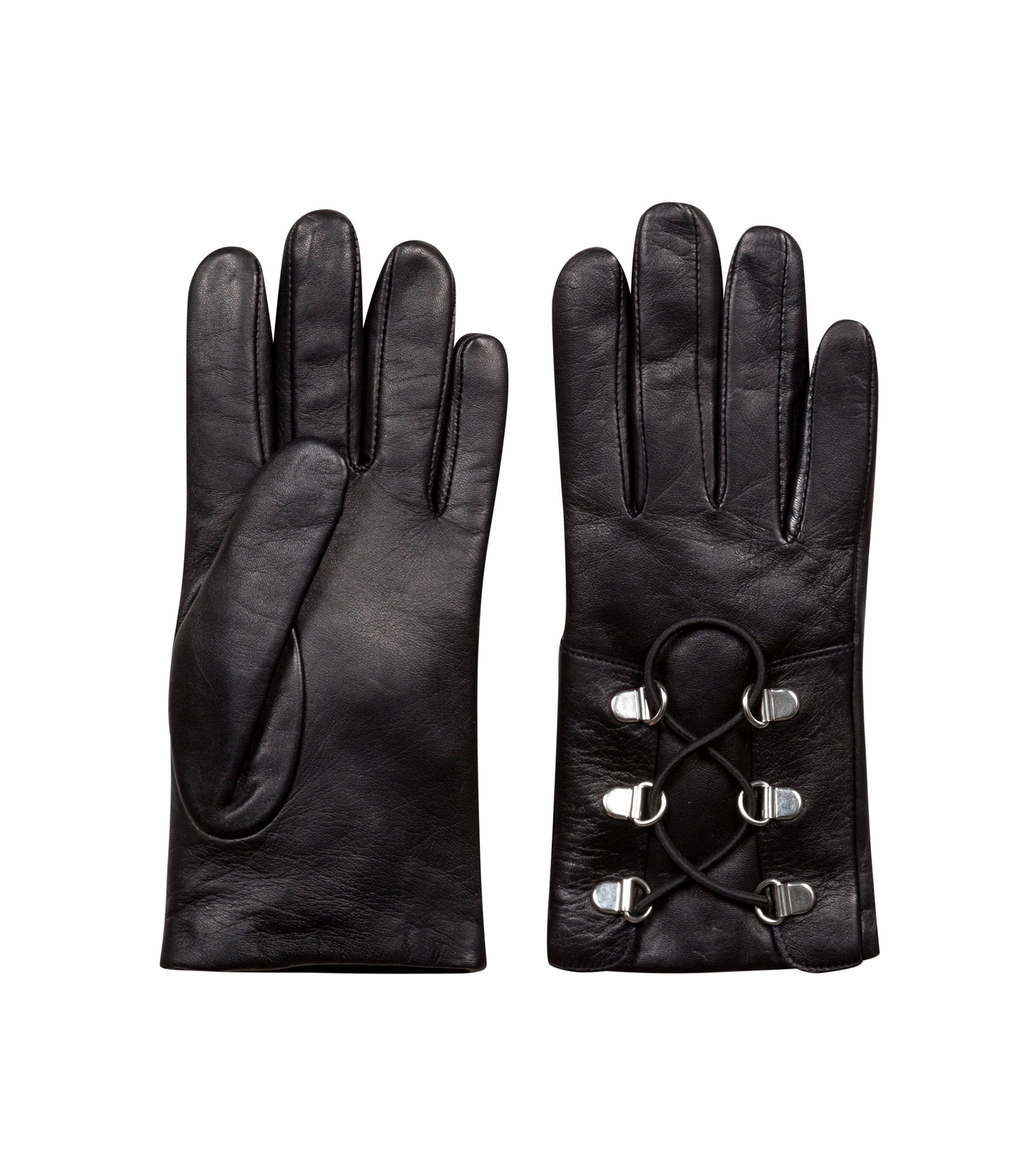 Laced gloves in lambskin with D-ring closure, Black