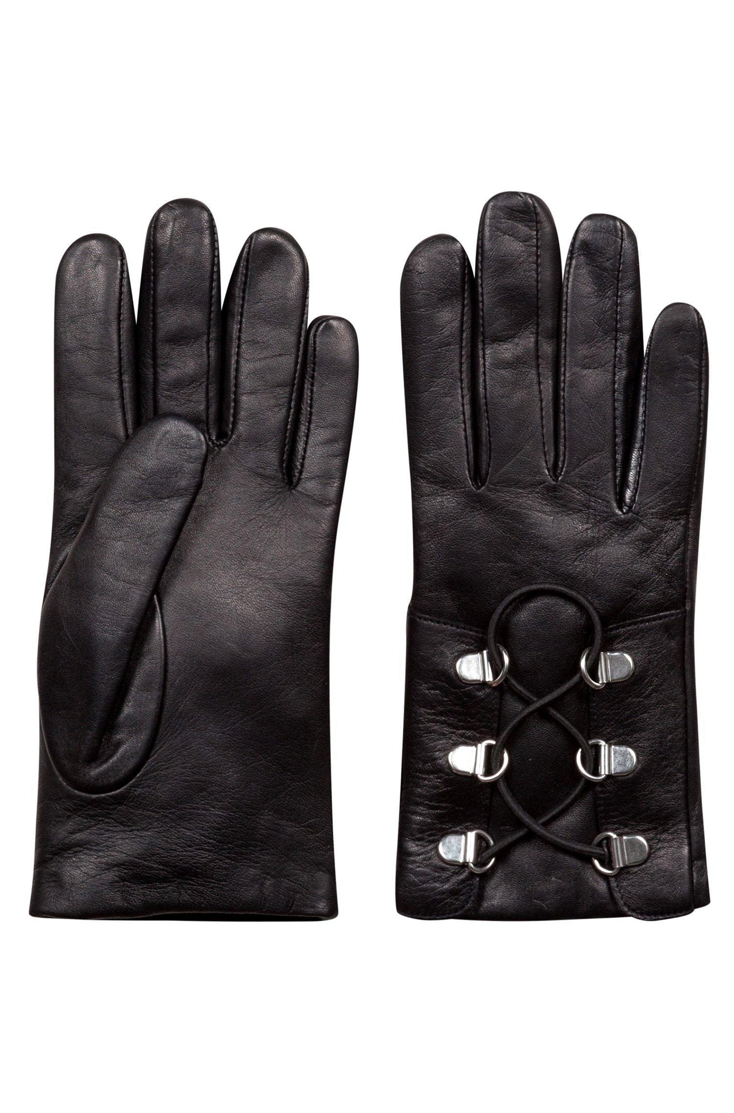 Handschoenen van lamsleer met veters en D-ringsluiting, Zwart