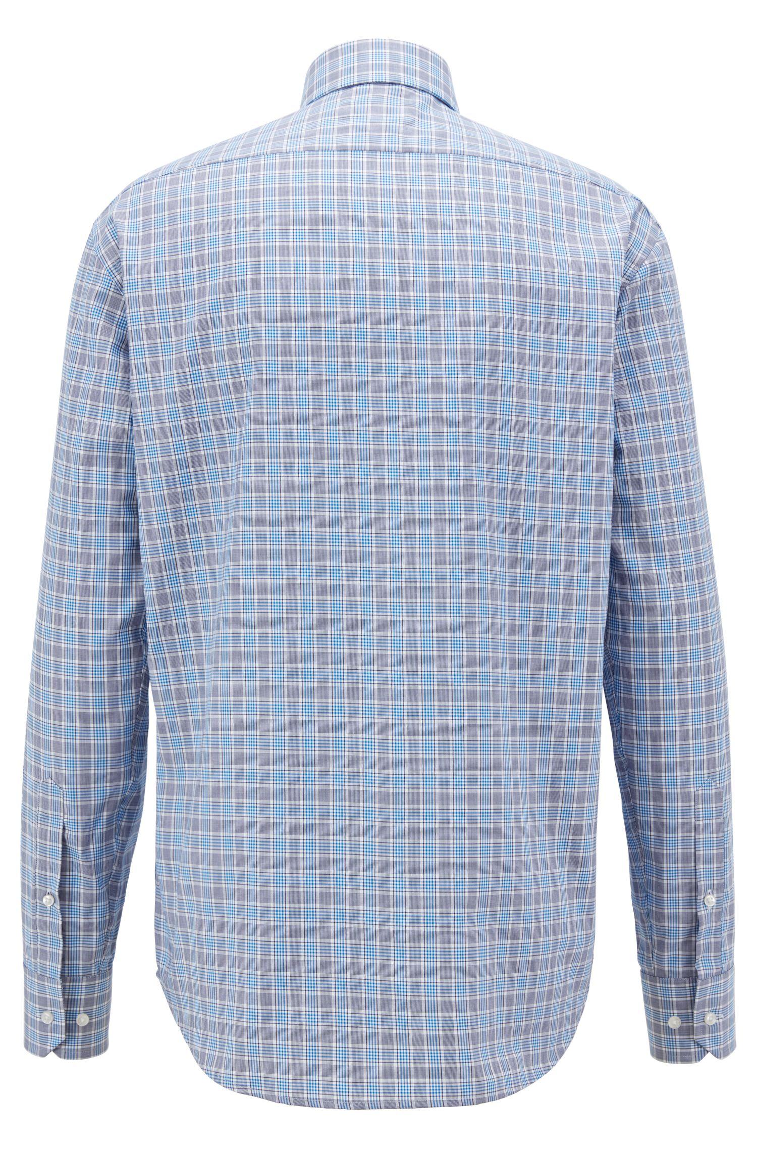 Camisa regular fit en sarga de algodón con cuadros Vichy, Azul