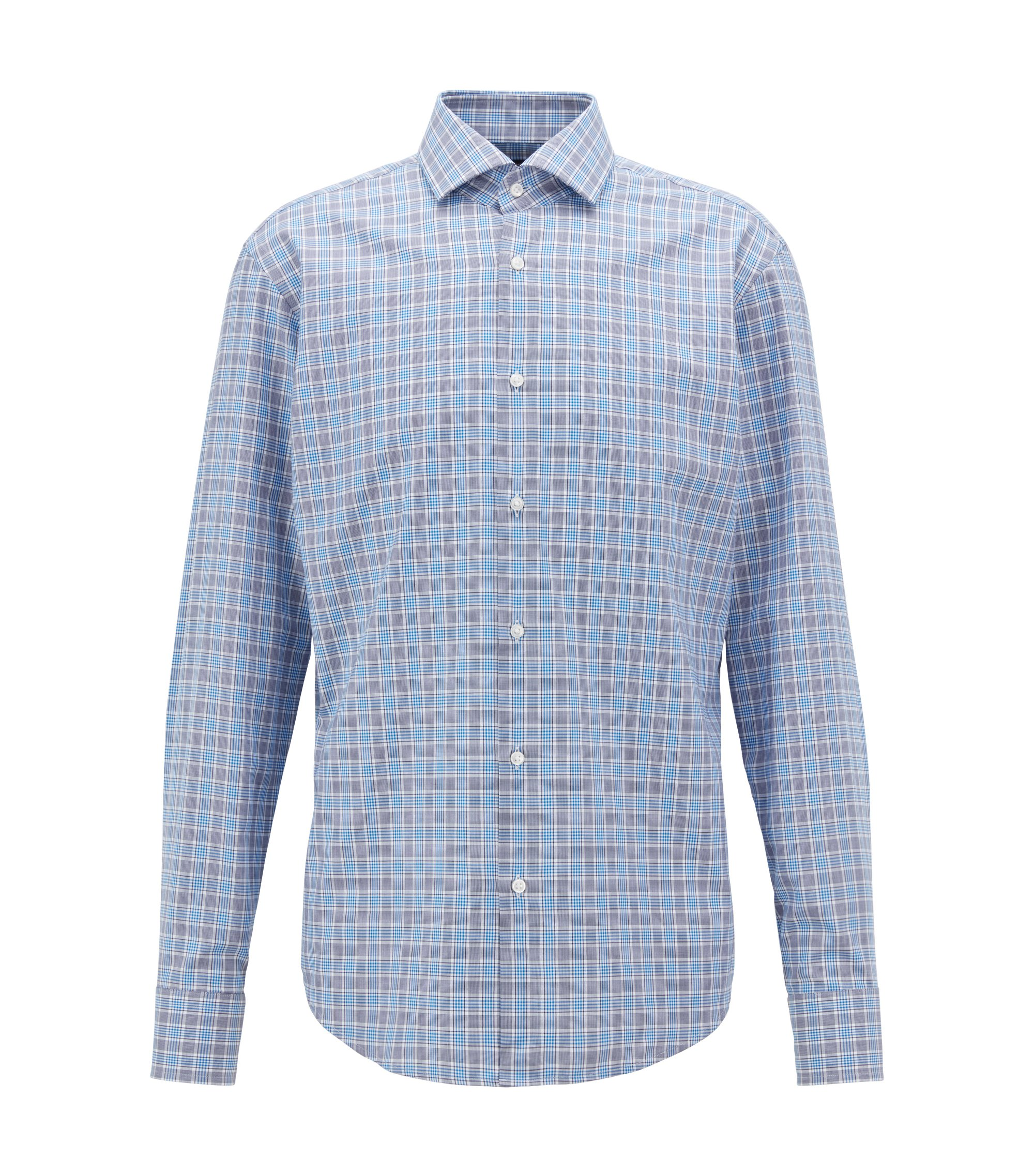 Camicia regular fit in twill di cotone a quadri Vichy, Blu