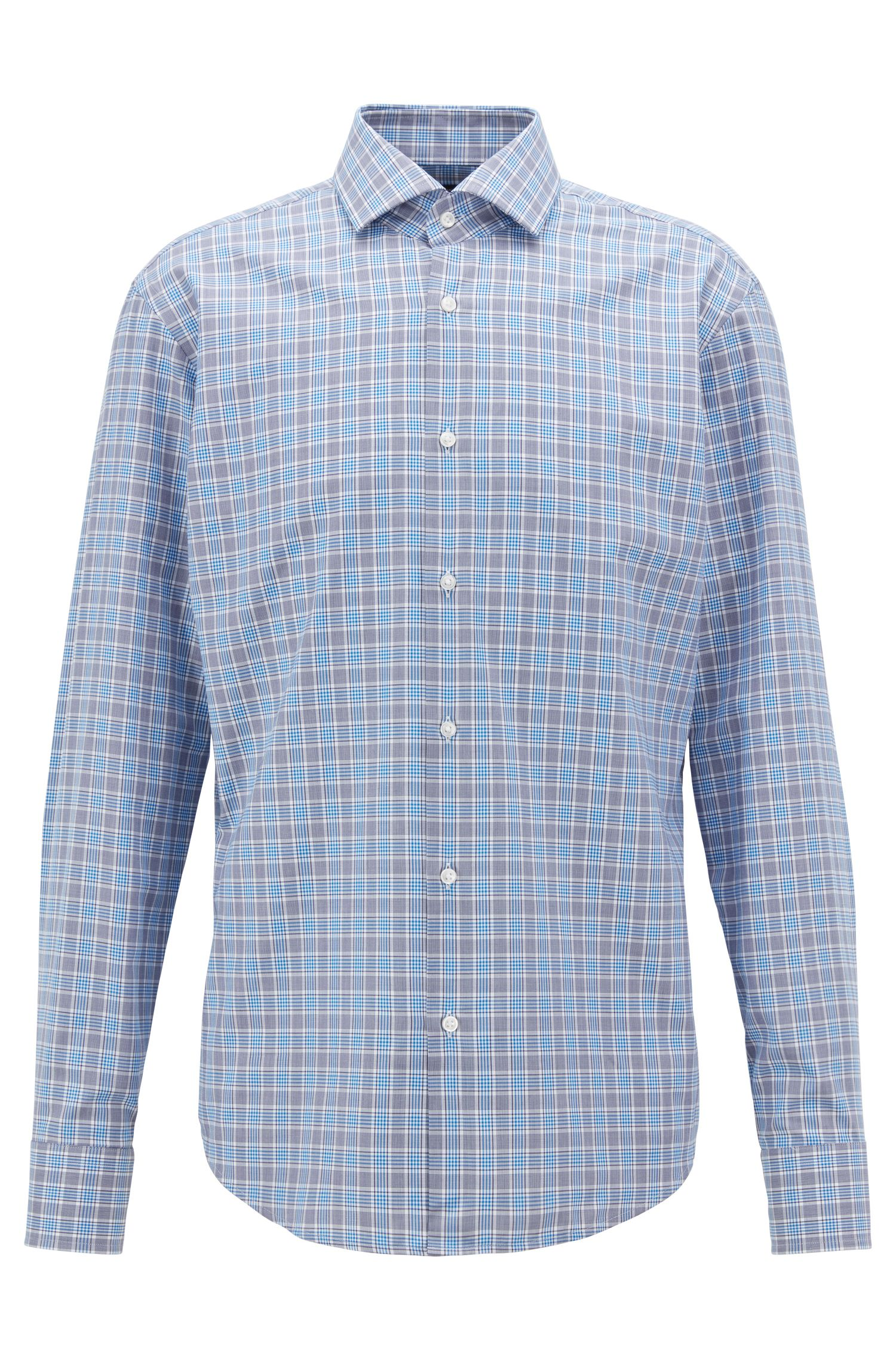 Regular-fit shirt in Vichy-check cotton twill, Blue