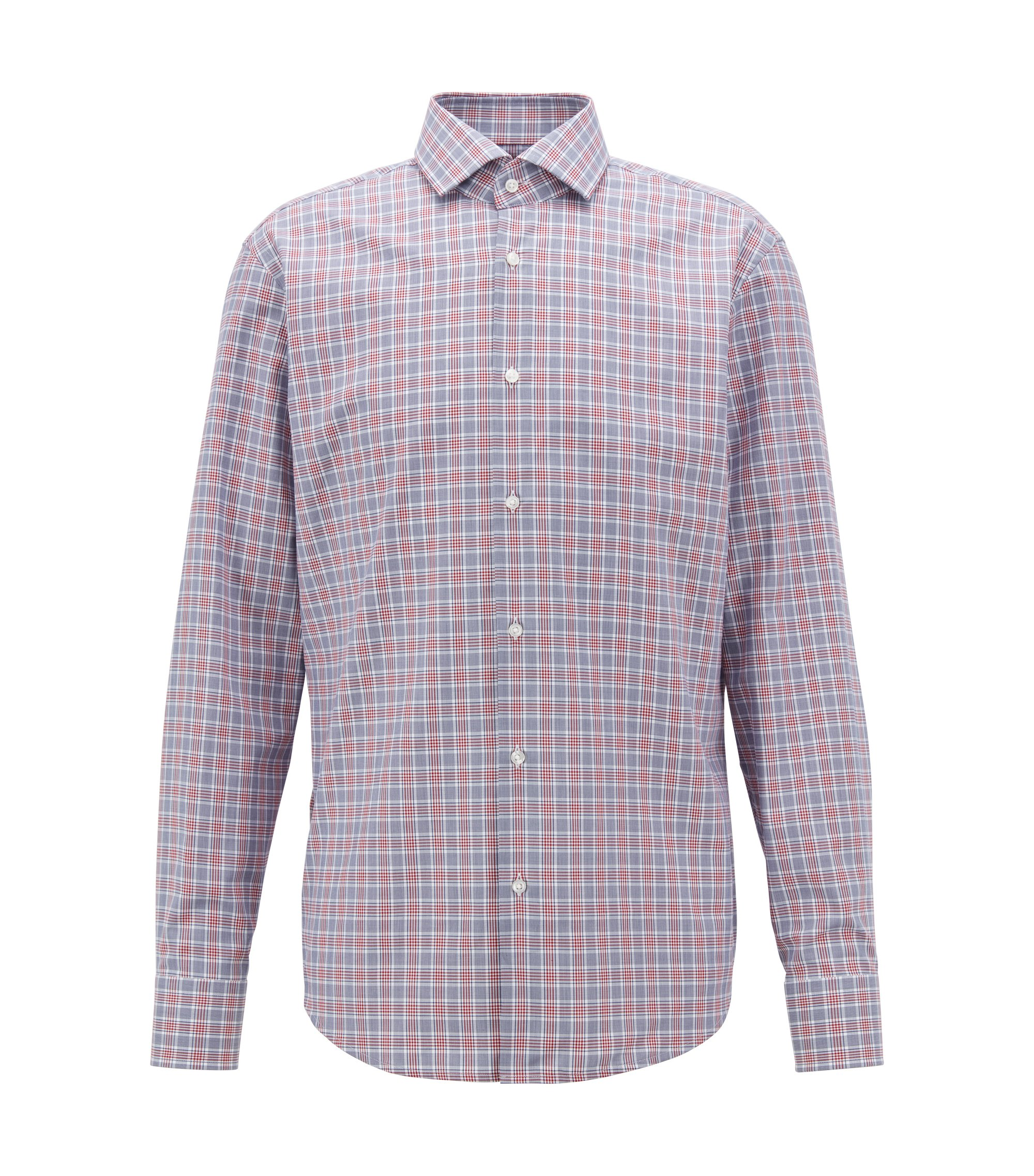 Camicia regular fit in twill di cotone a quadri Vichy, Rosso scuro