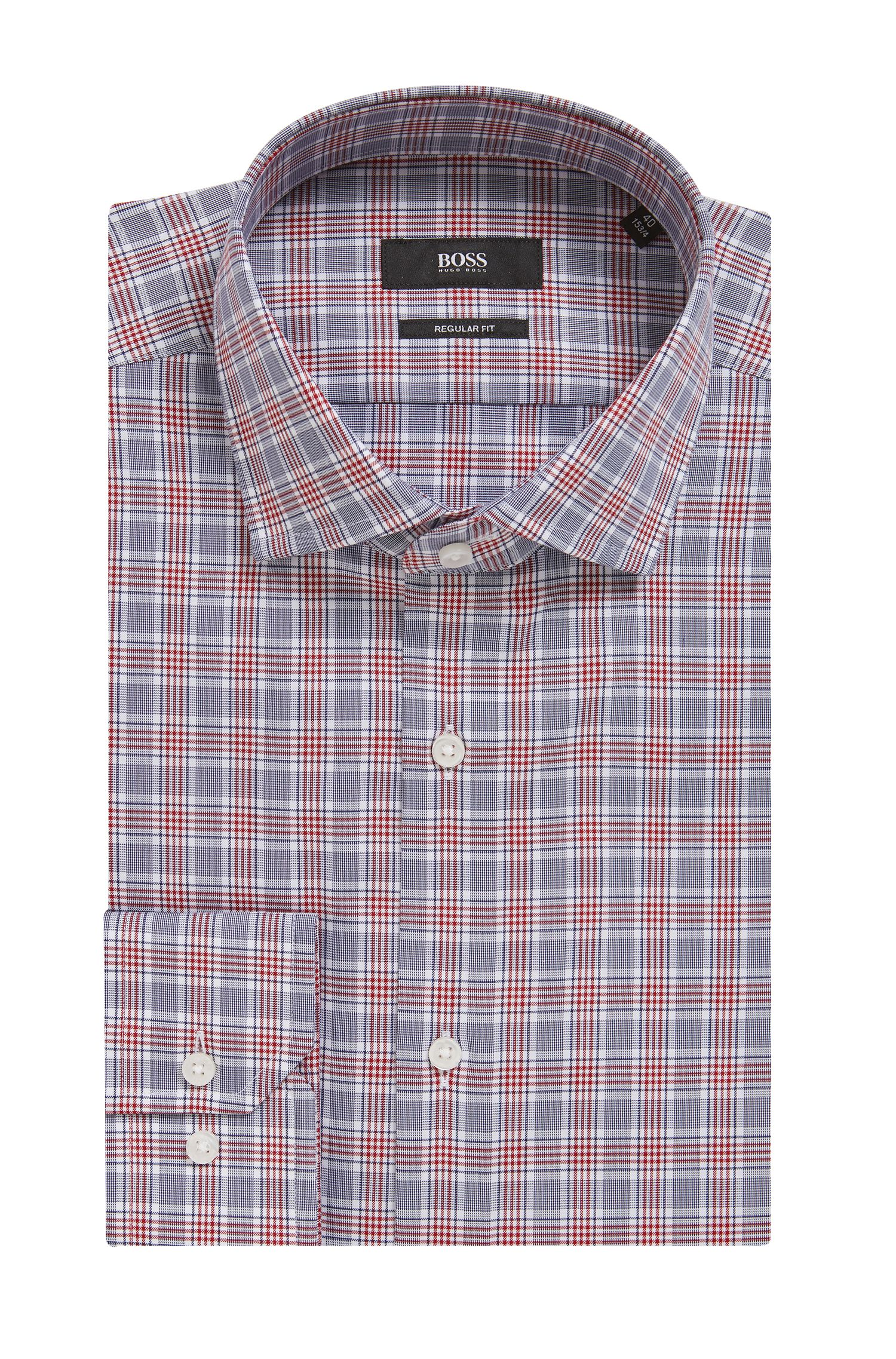 Regular-fit shirt in Vichy-check cotton twill, Dark Red