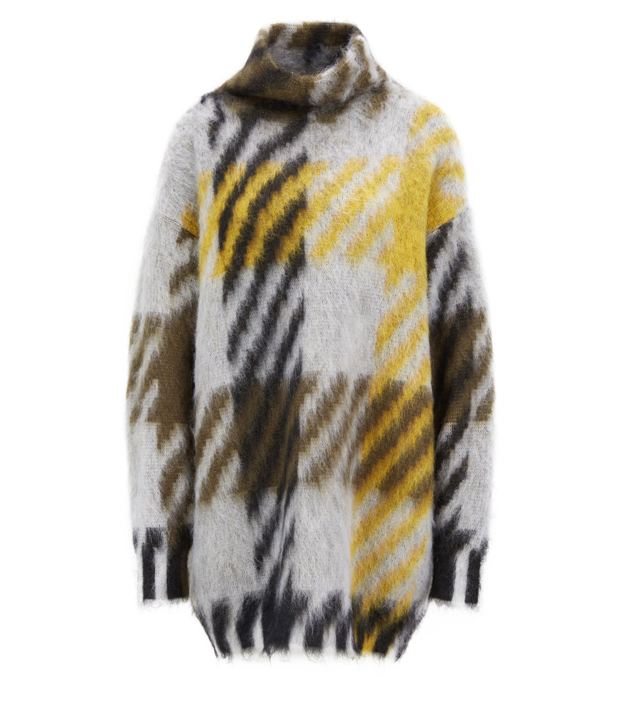 Oversized-fit turtleneck sweater in an Italian wool blend, Patterned