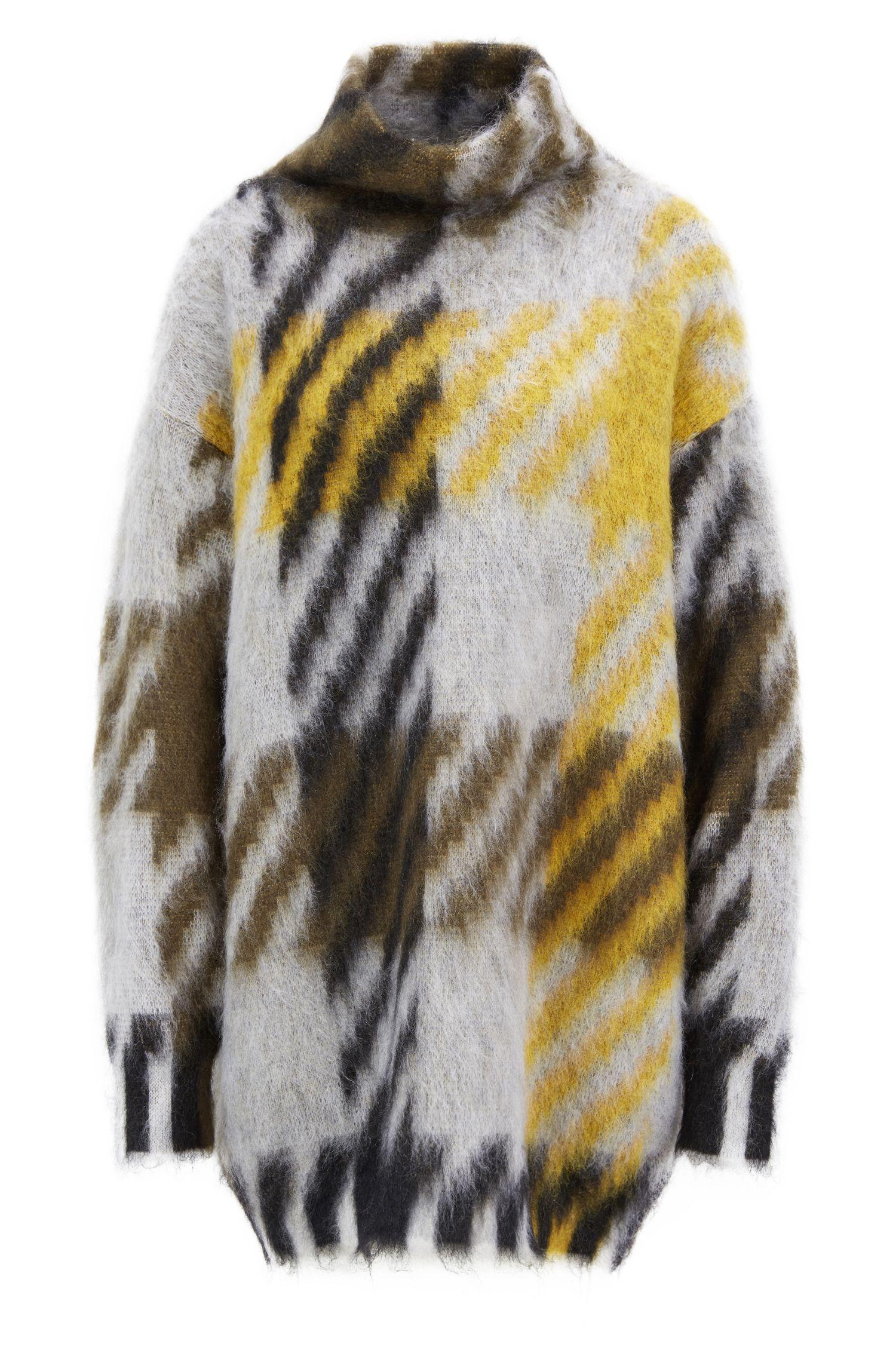 Oversized-fit turtleneck sweater in an Italian wool blend, Patterned