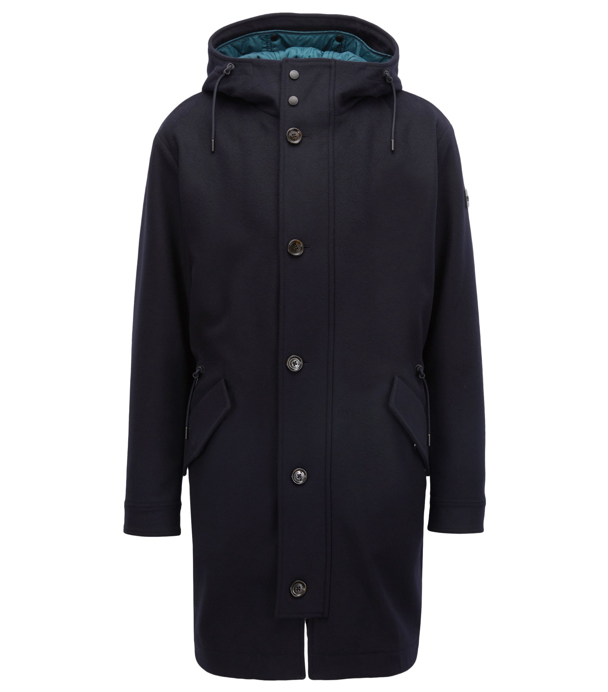 Hooded parka in wool and cashmere with detachable lining, Dark Blue