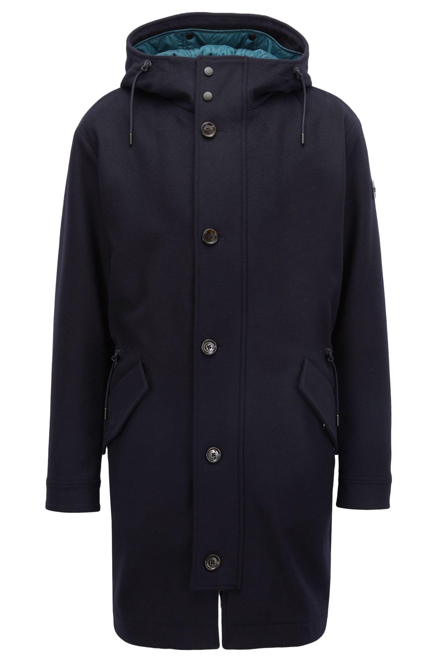 Parka in lana e cashmere con cappuccio e fodera interna rimovibile, Blu scuro