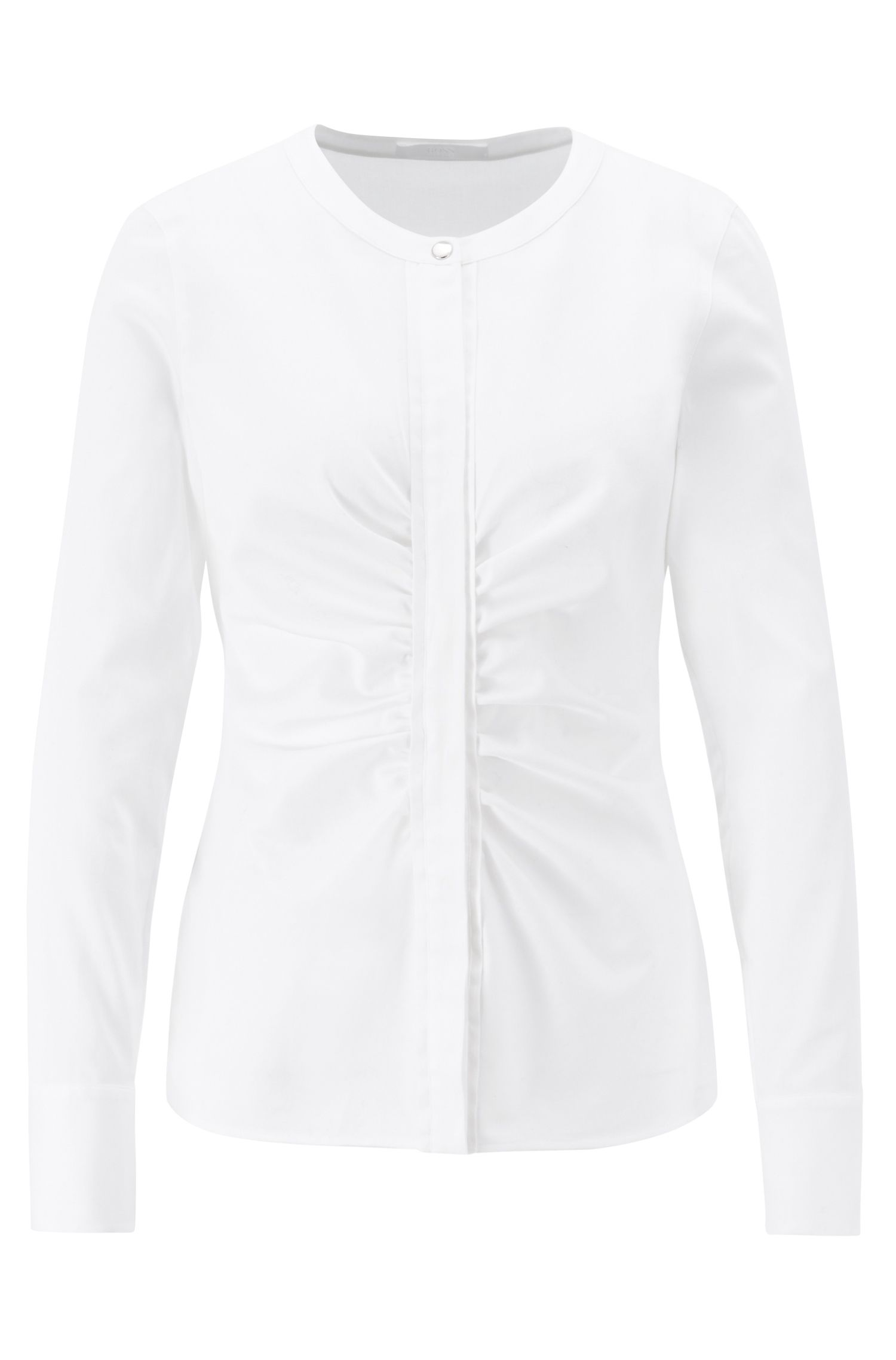 Collarless blouse in stretch satin with ruching detail, White