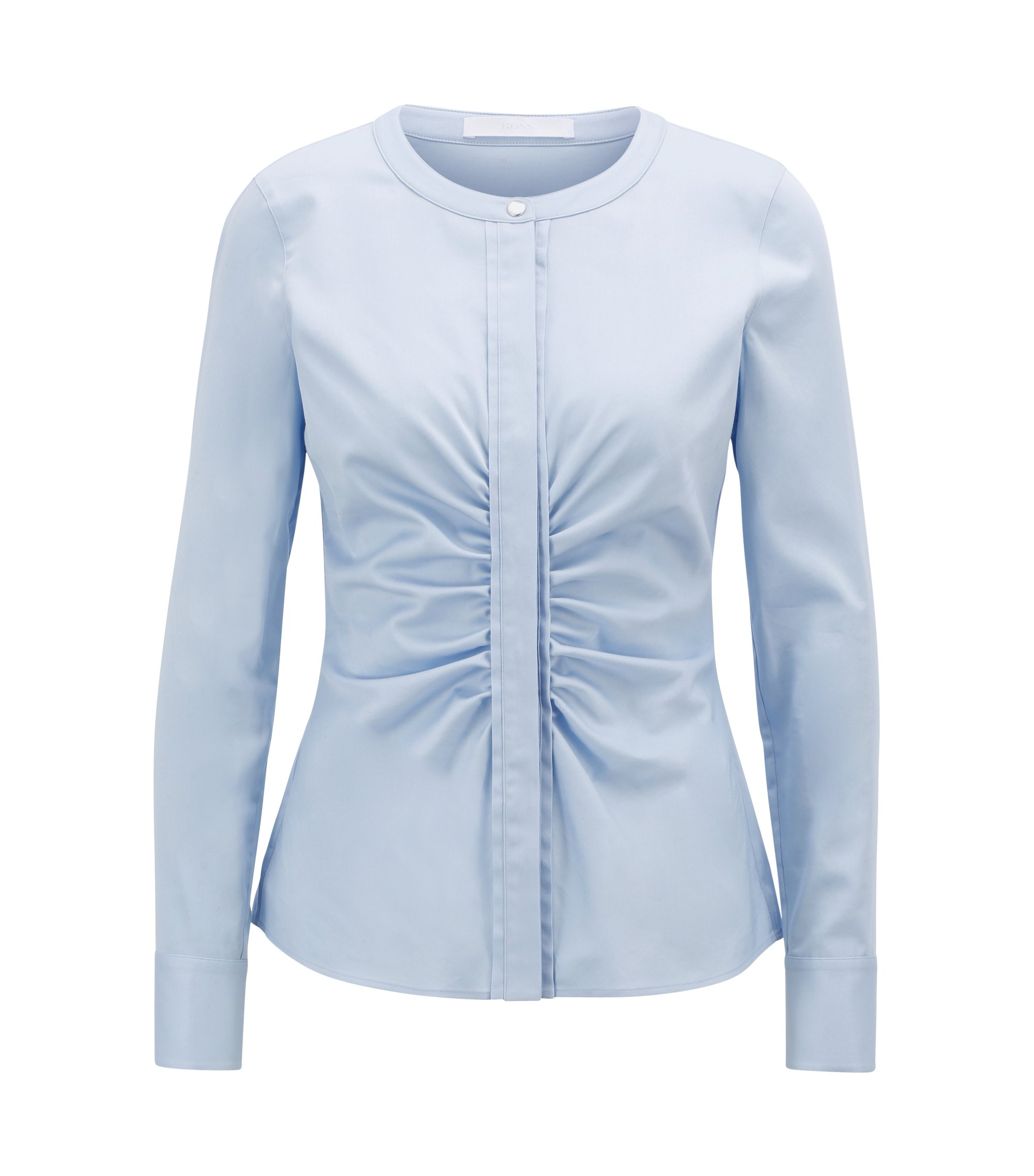 Collarless blouse in stretch satin with ruching detail, Light Blue