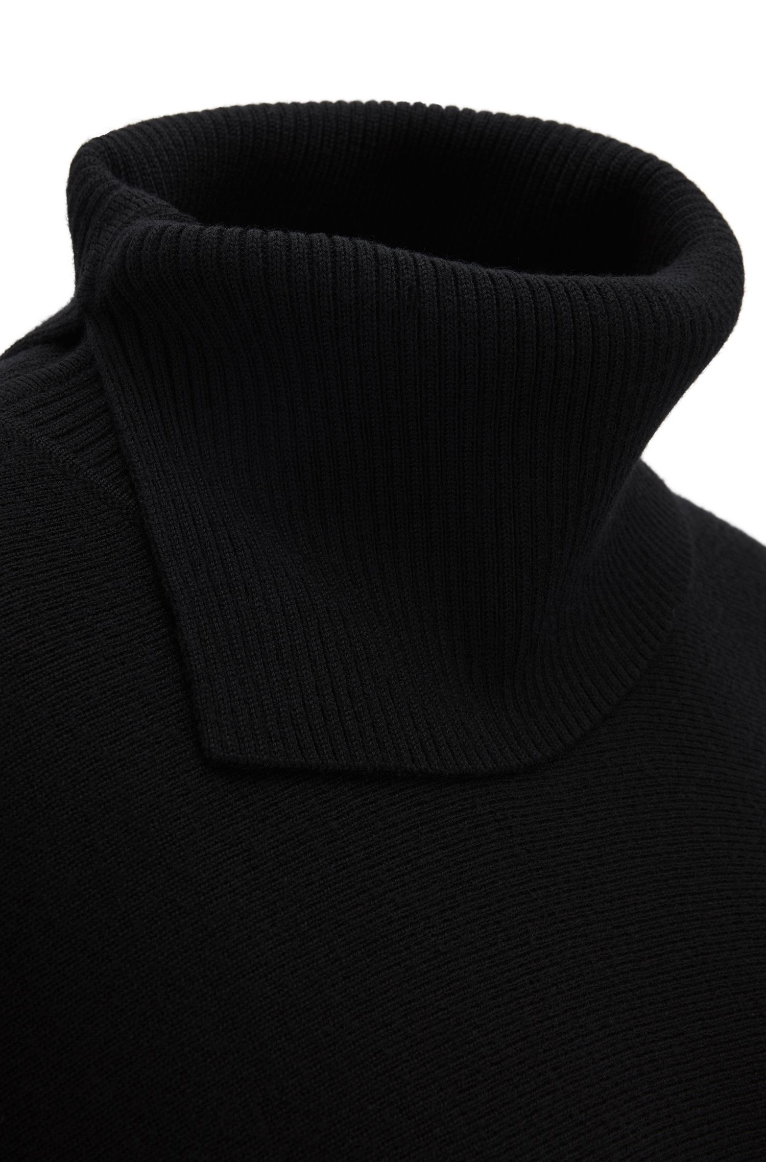 Shawl in virgin wool with slit roll neck, Black