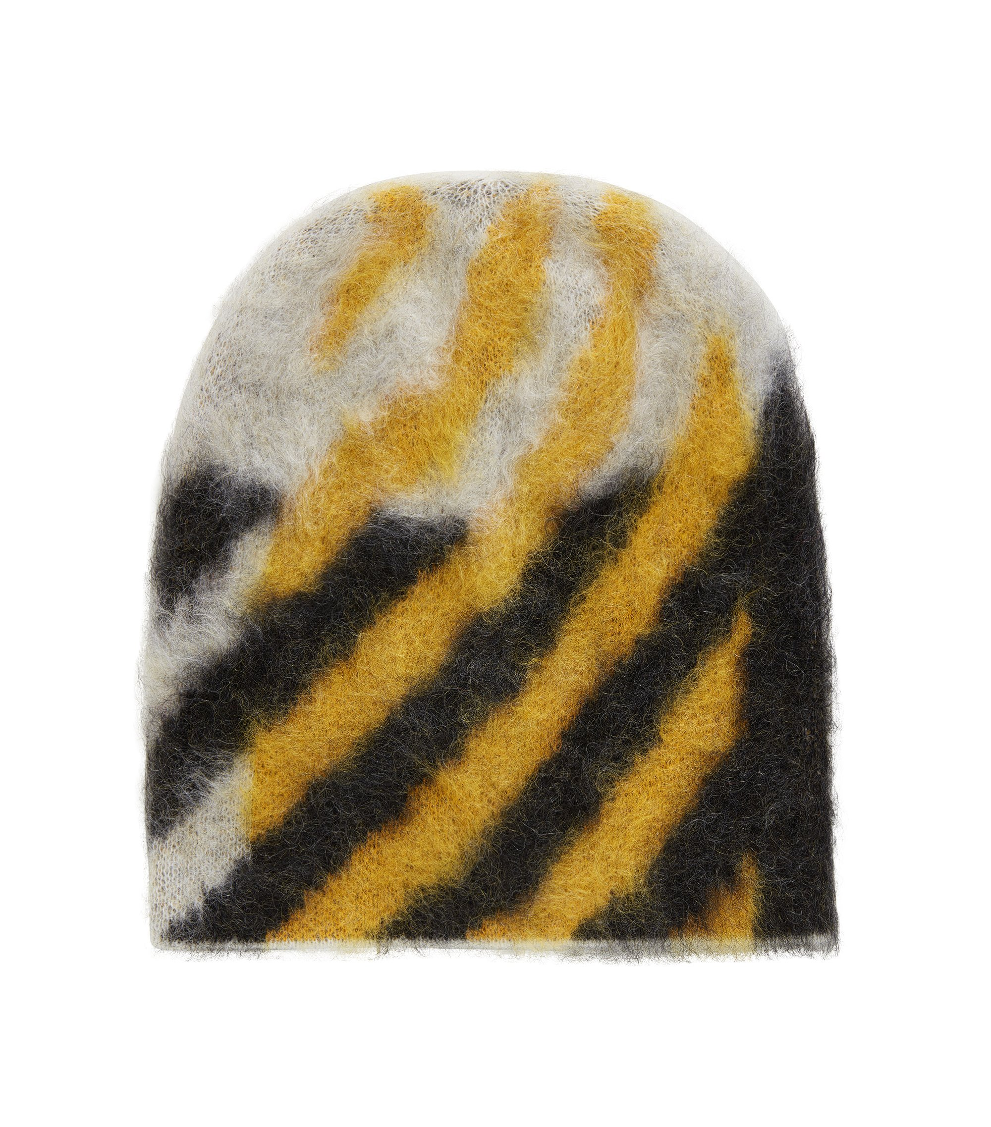 Textured wool-blend beanie hat with contrast pattern, Patterned