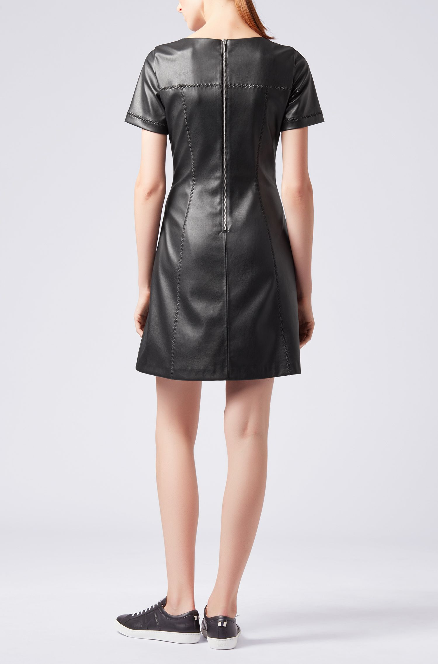 Faux-leather A-line dress with embroidery details, Black