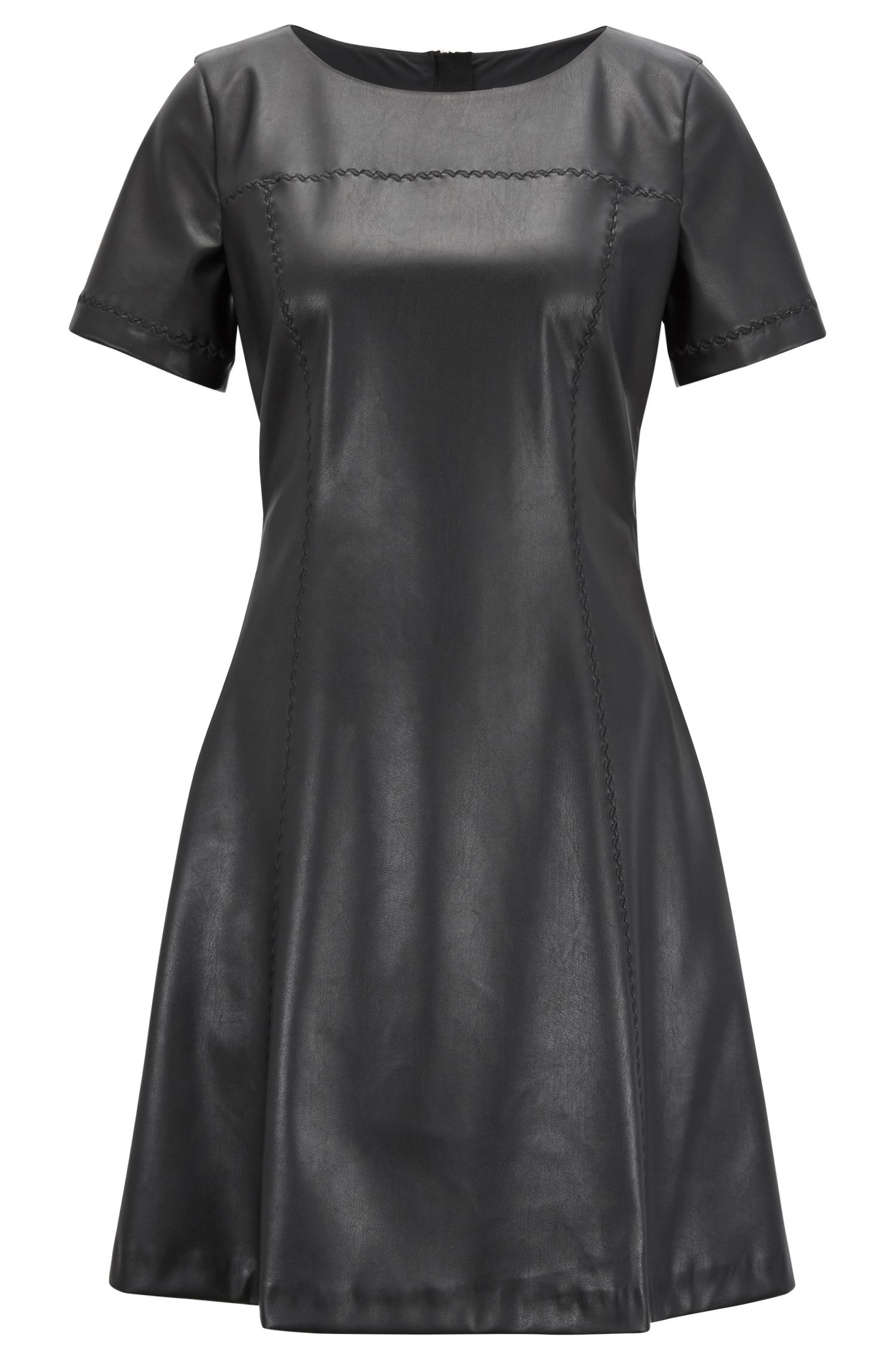 Faux-leather A-line dress with embroidery details