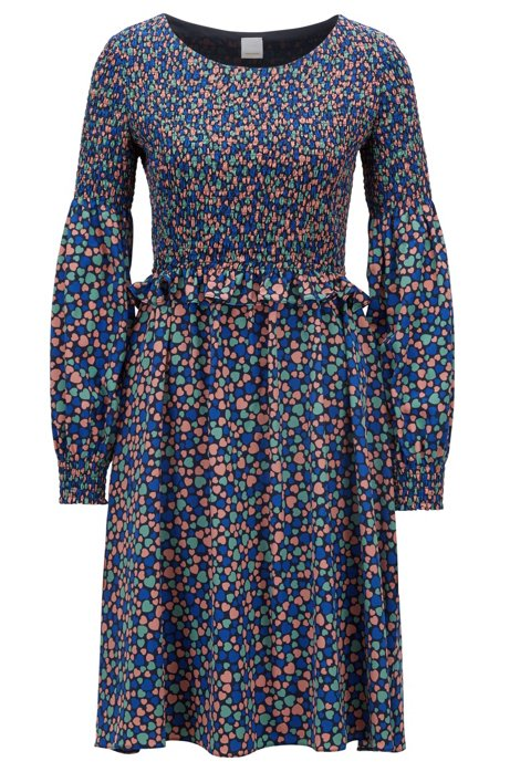 Heart-print crepe dress with smocking detail, Patterned