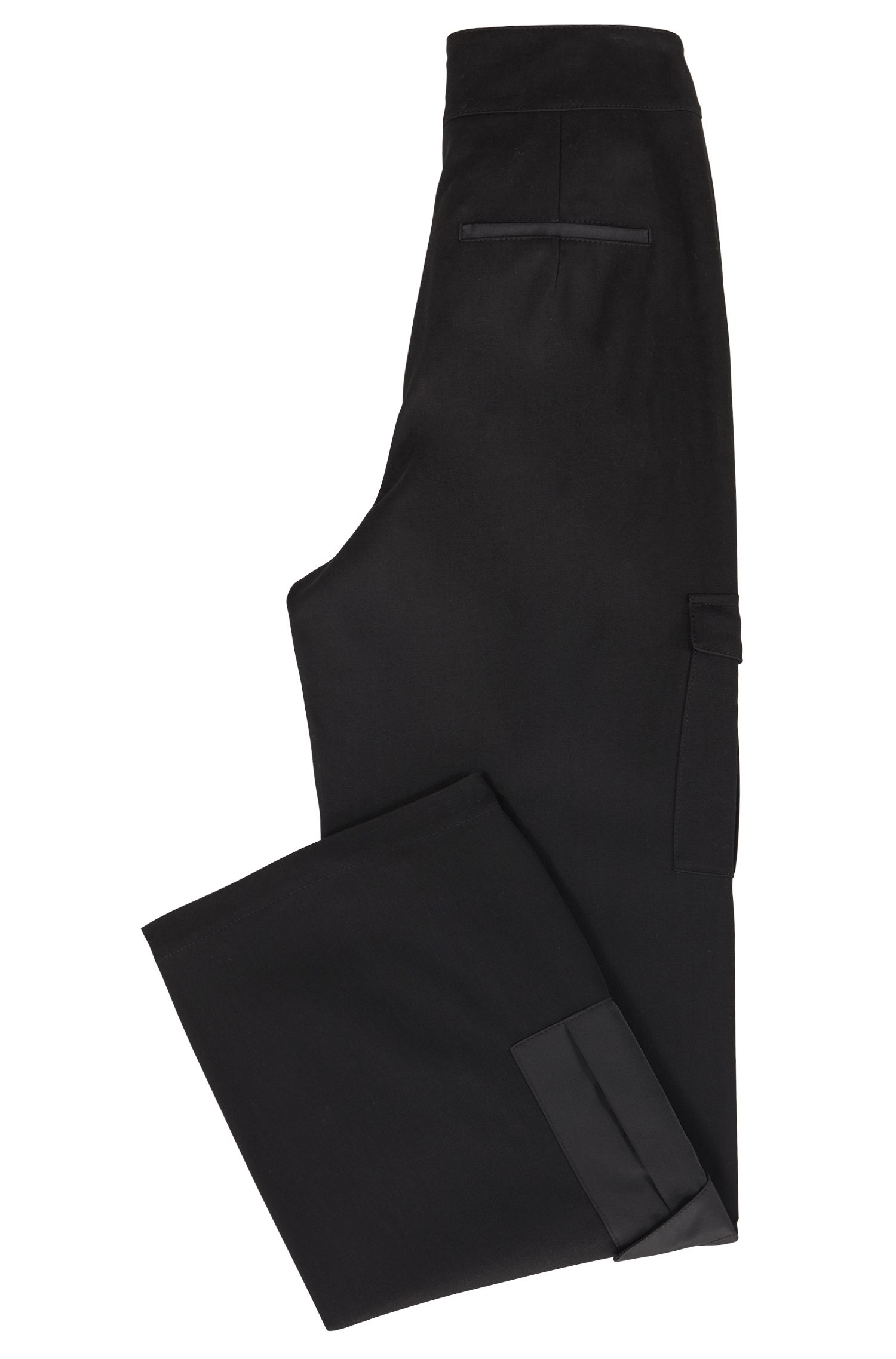High-waisted trousers in stretch twill with utility pockets, Black