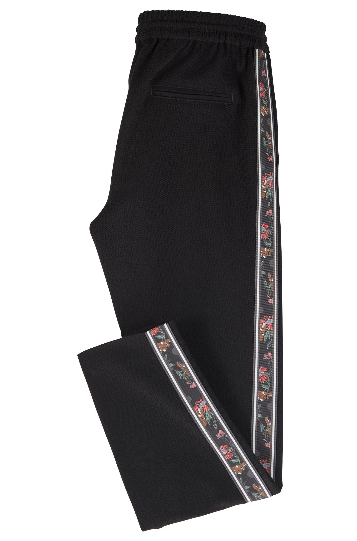 Pantaloni regular fit in crêpe con nastro laterale, Nero