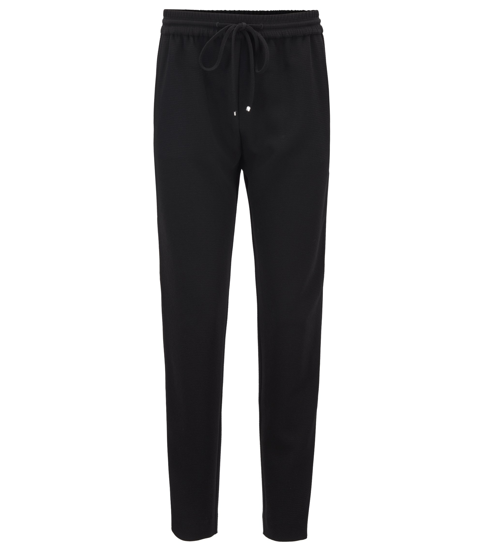 Regular-fit crepe trousers with side-seam taping, Black