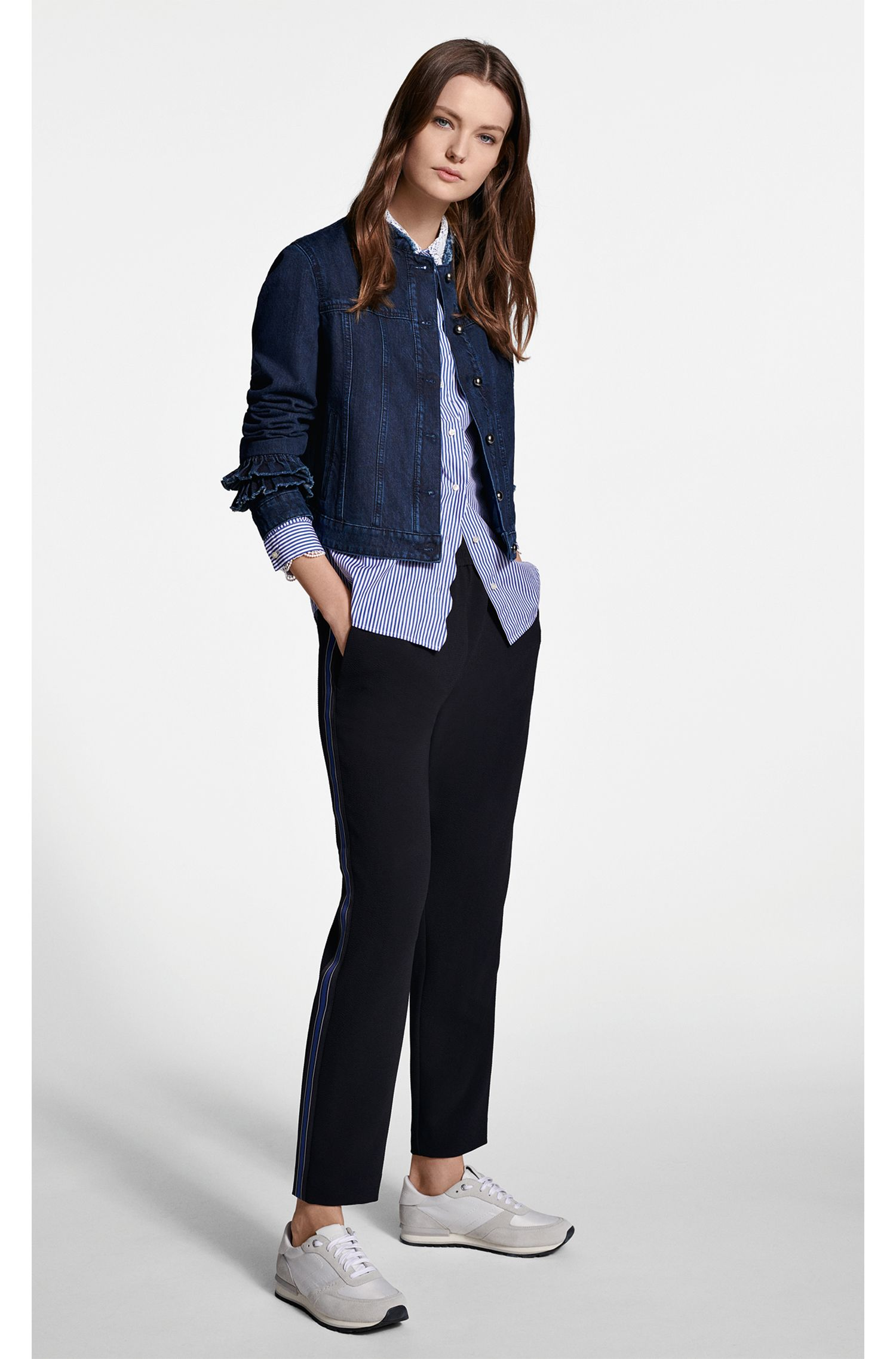 Regular-fit crepe trousers with side-seam taping, Dark Blue