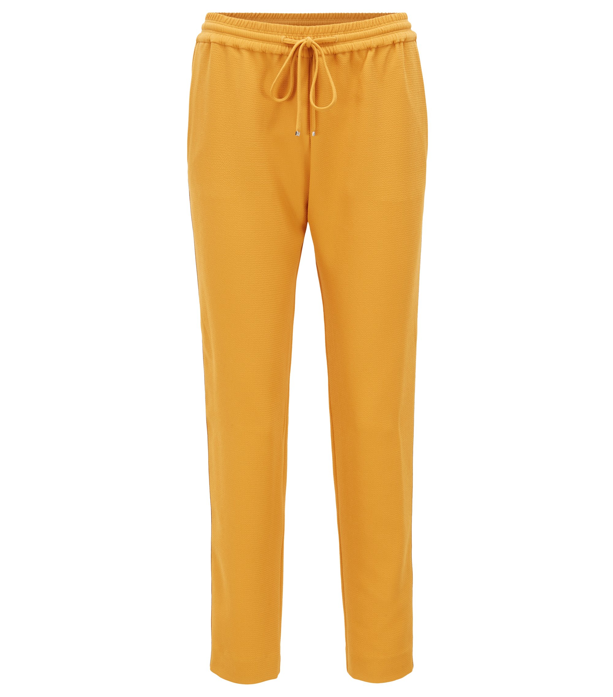 Pantaloni regular fit in crêpe con nastro laterale, Oro