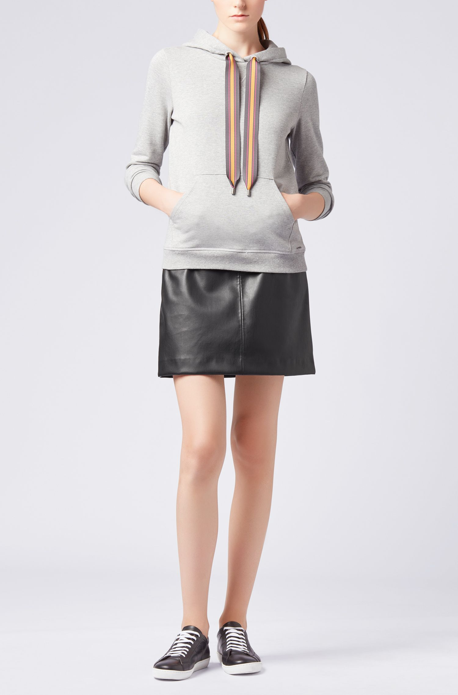 A-line miniskirt in faux leather with embroidery detailing, Black