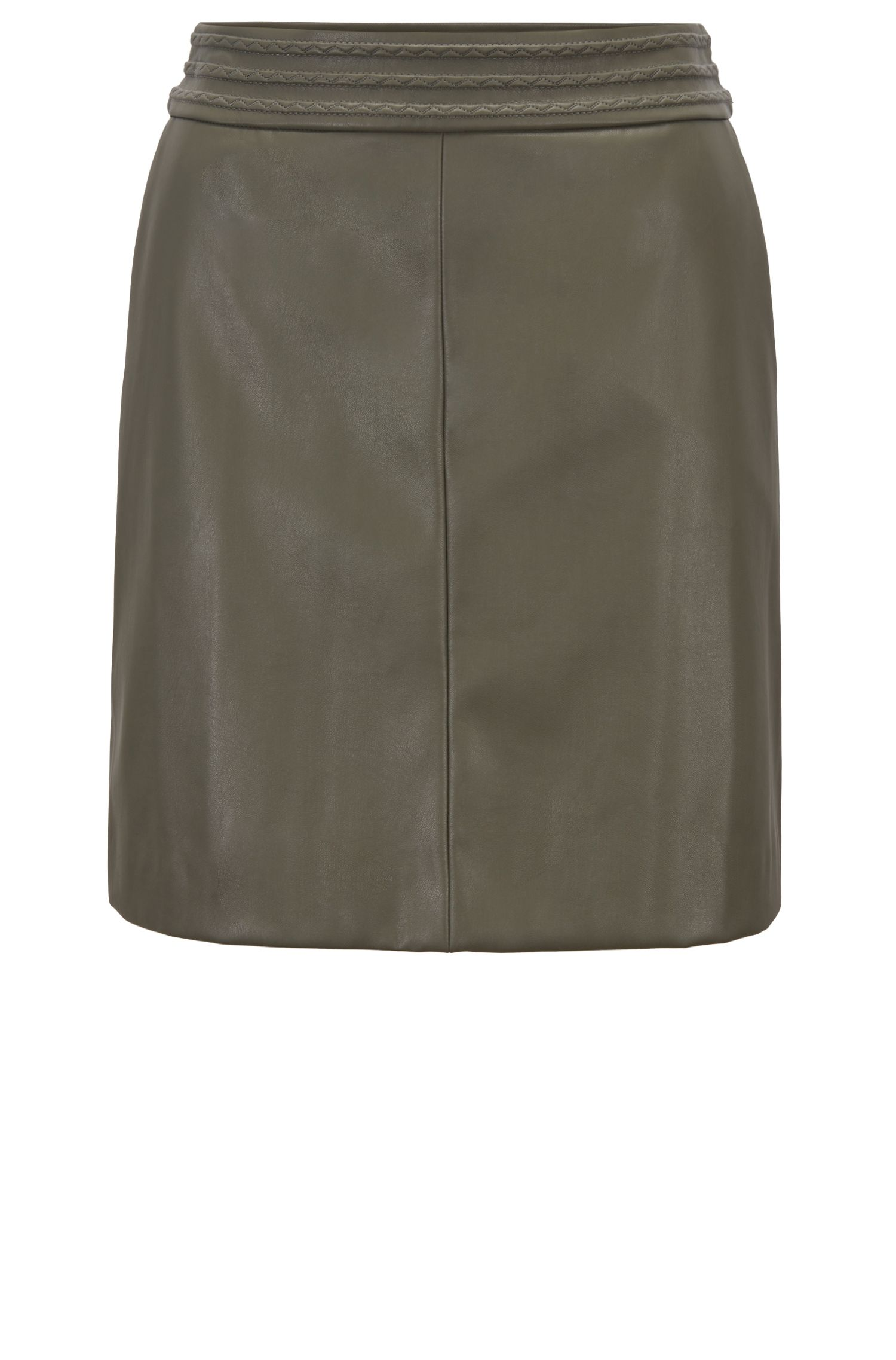 A-line miniskirt in faux leather with embroidery detailing, Khaki