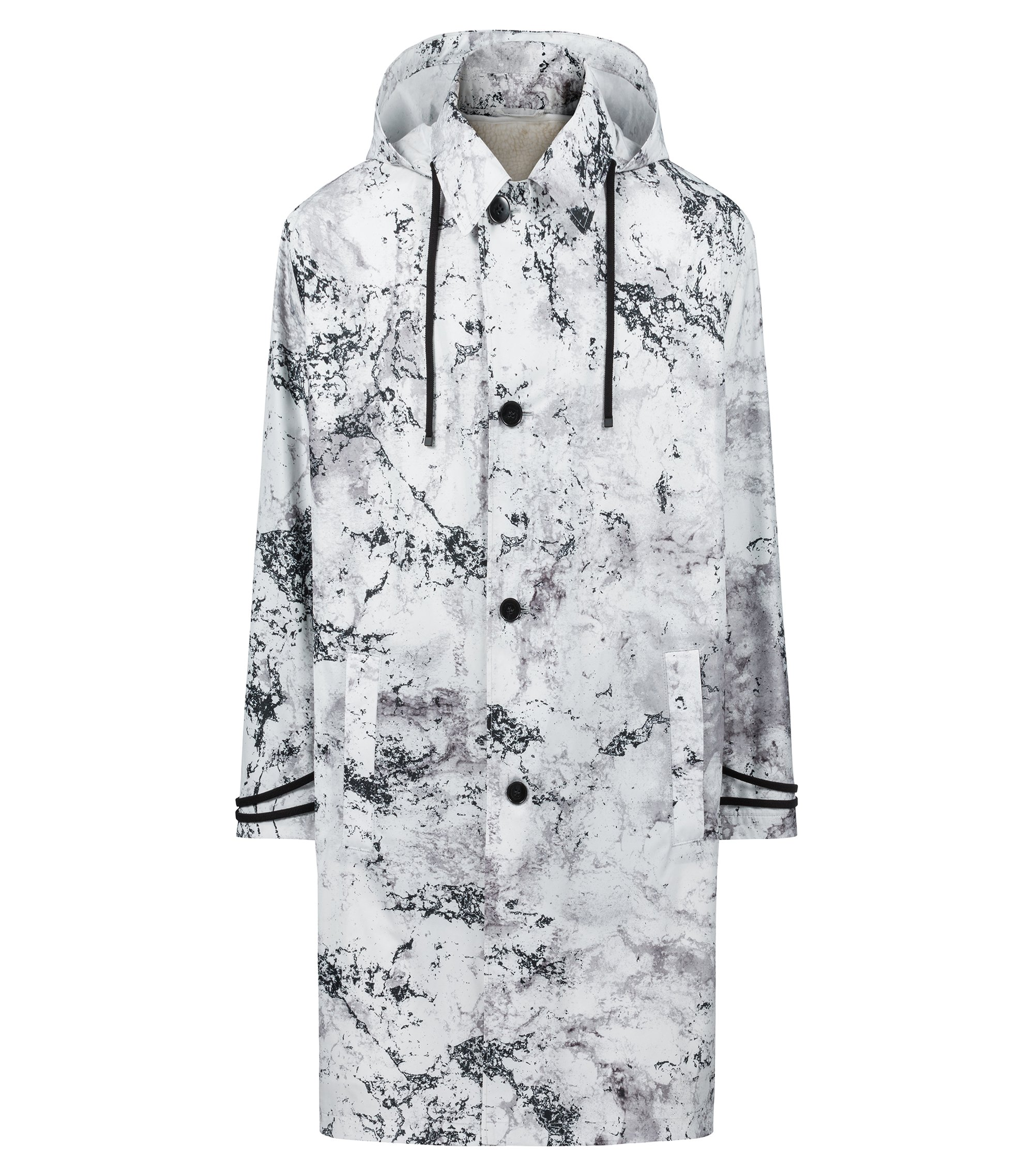Relaxed-fit patterned coat with detachable faux-shearling lining, Open White