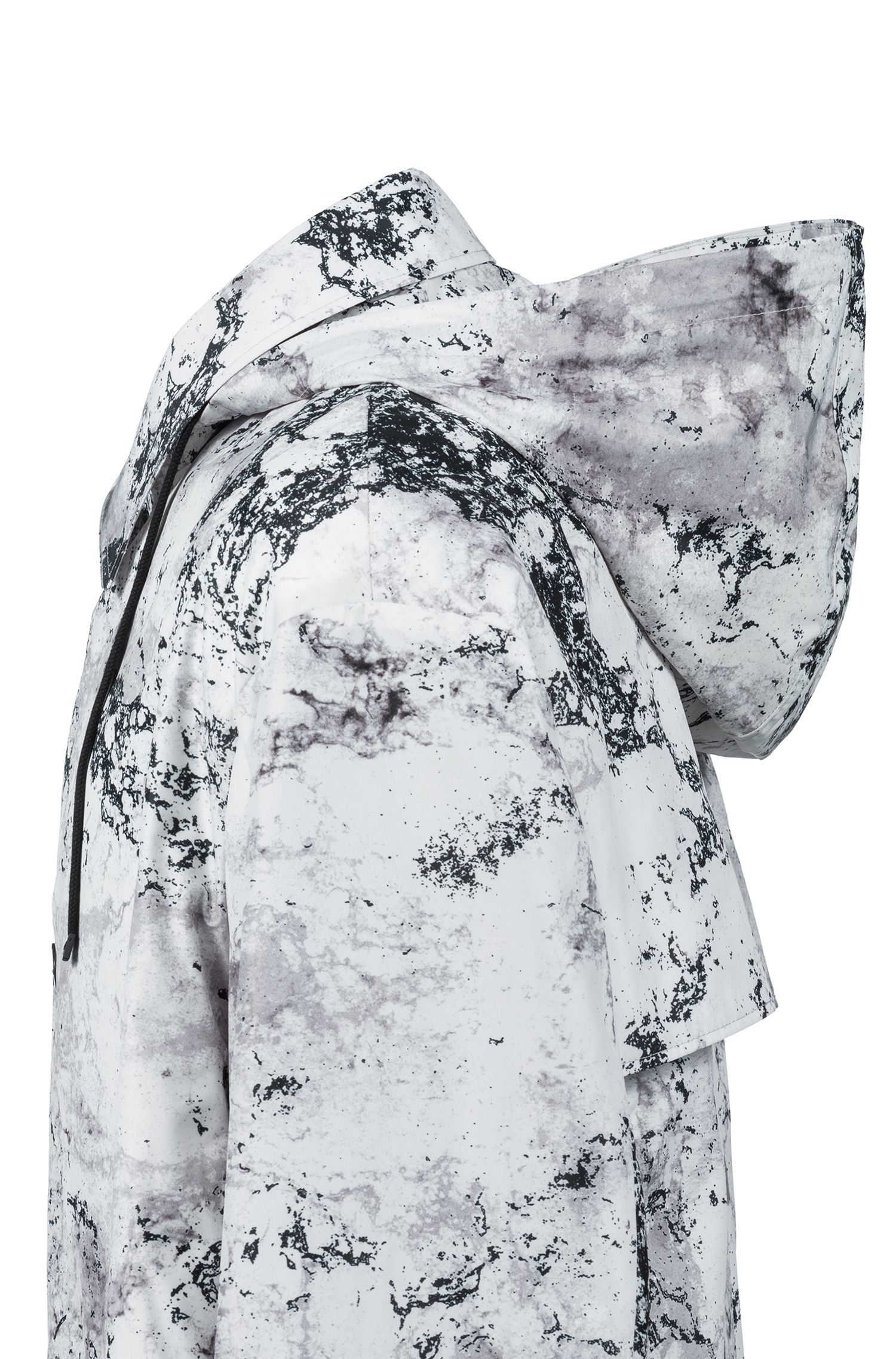 Gemusterter Relaxed-Fit Mantel mit herausnehmbarem Kunstfell-Futter, Weiß