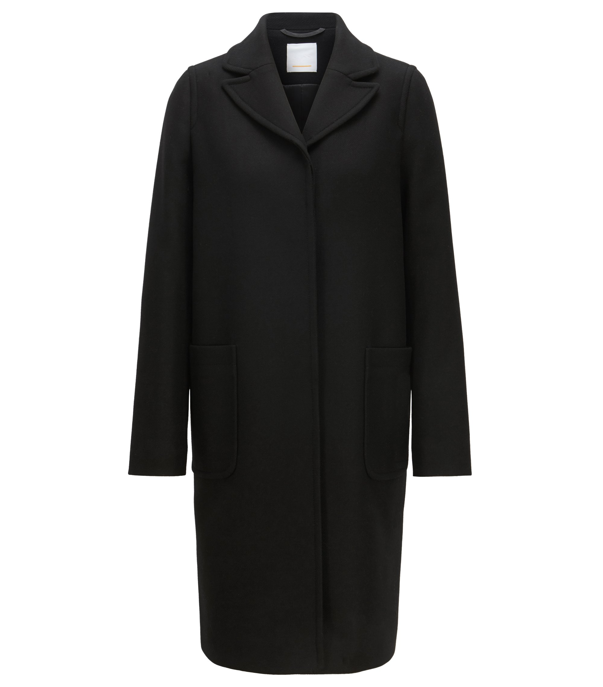 Regular-fit coat in a wool blend with cashmere, Black