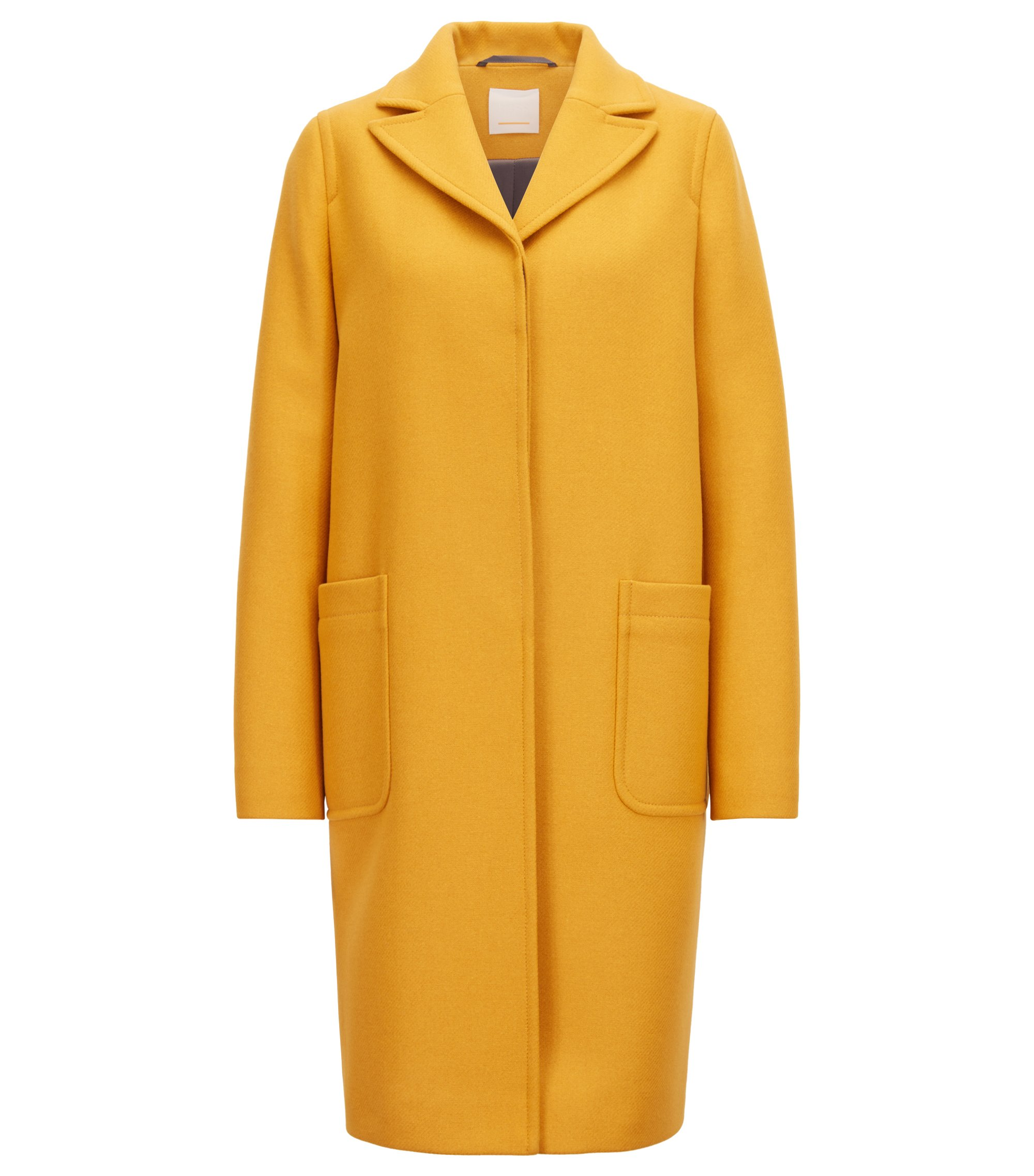 Regular-fit coat in a wool blend with cashmere, Gold
