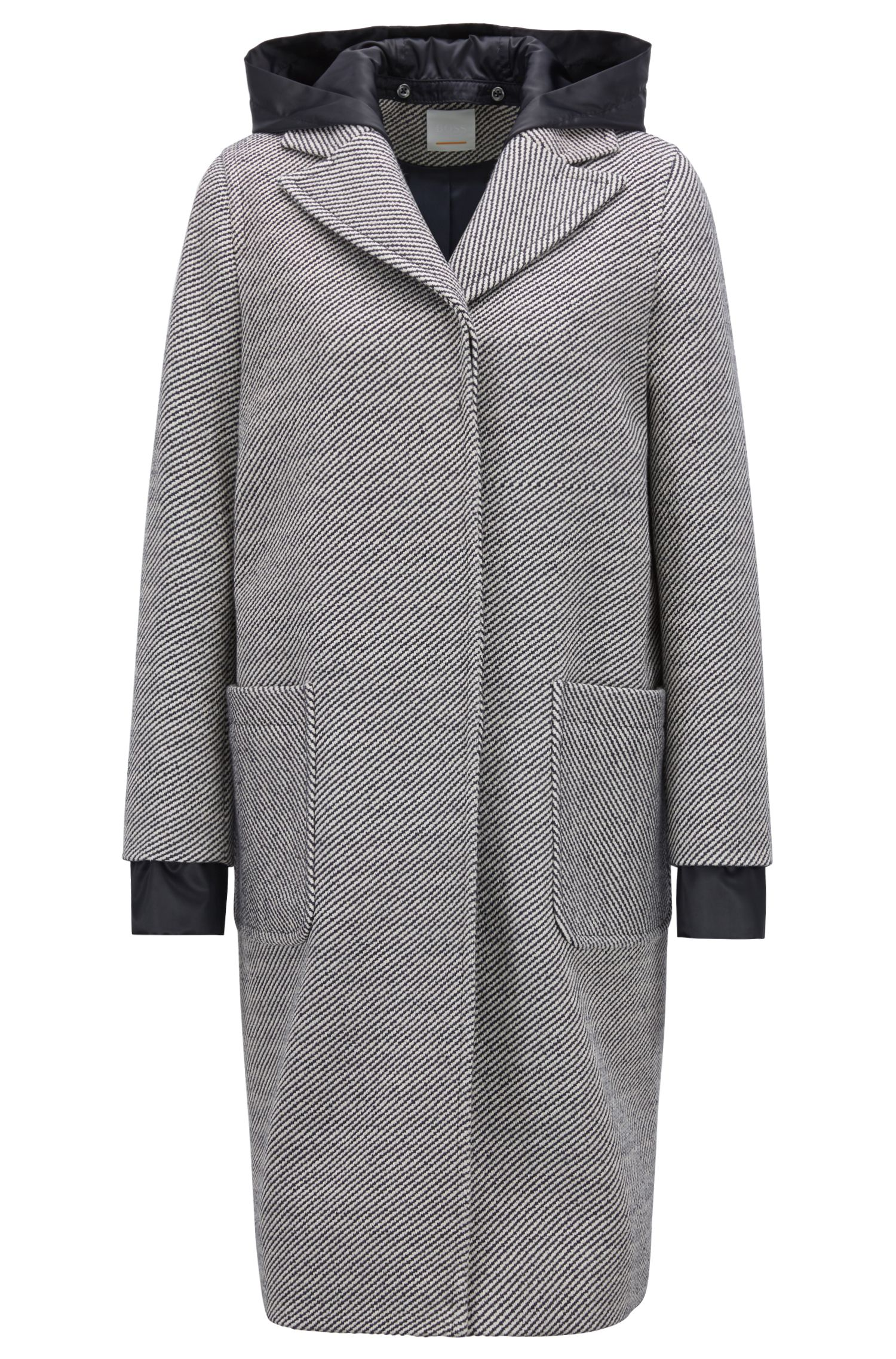 Hybrid coat in striped cotton twill with detachable hood, Patterned