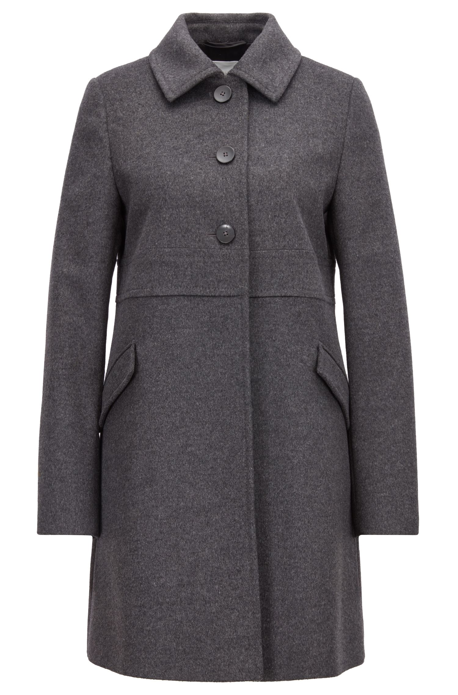 Regular-fit coat in a virgin-wool-cashmere blend, Anthracite
